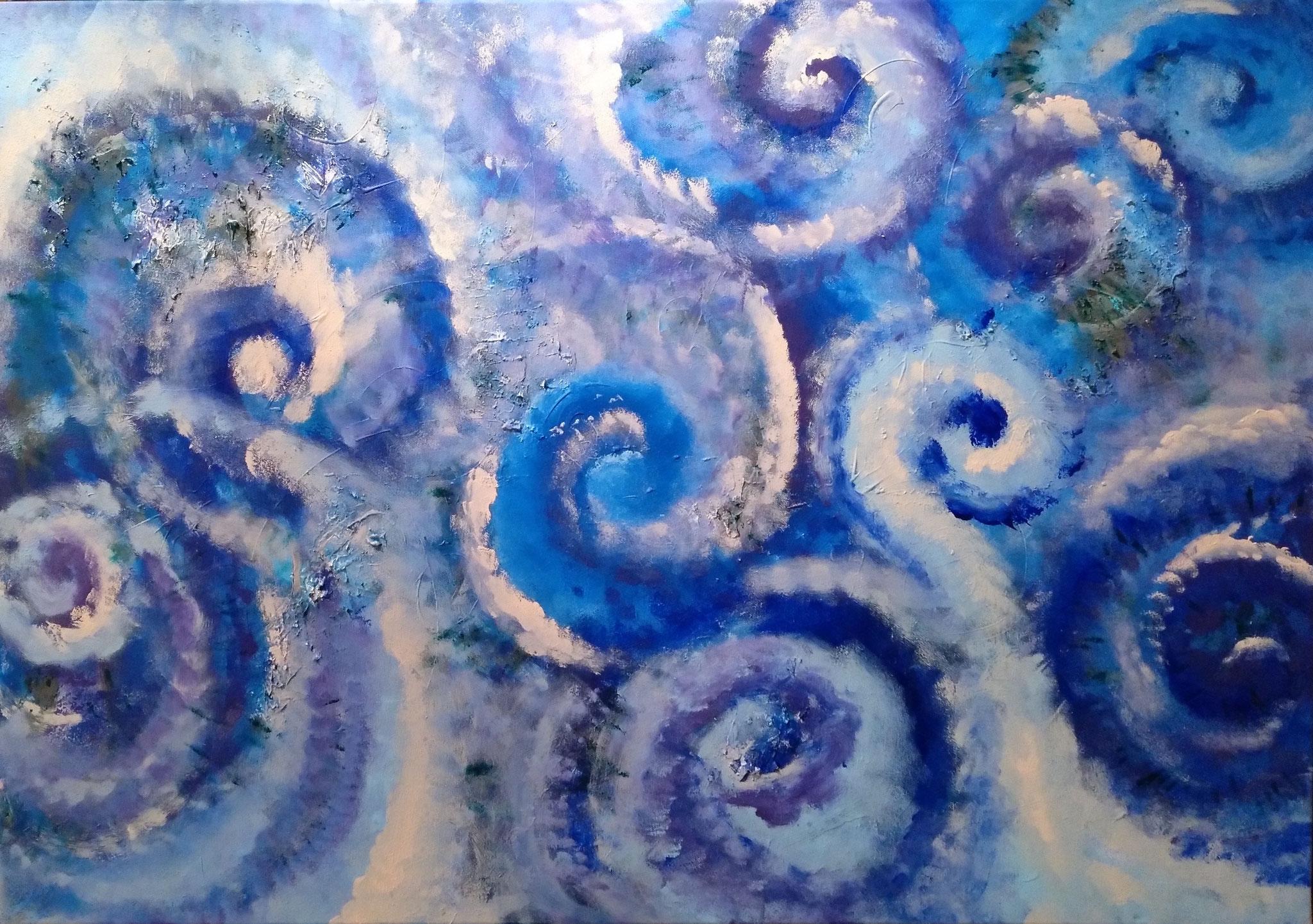 Wasserfluten - 70 x 100 - Acryl und Öl auf Leinwand