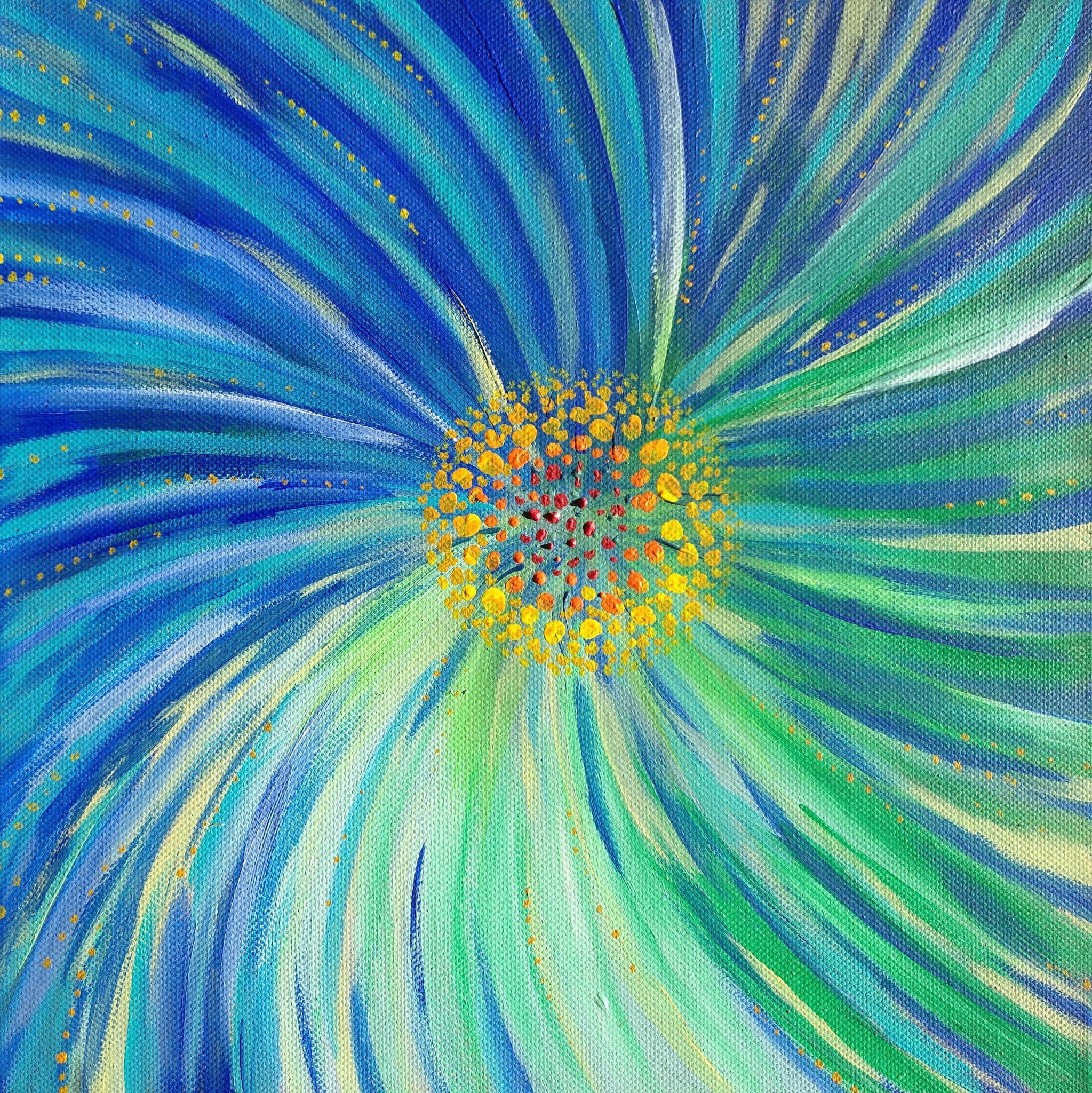 Blüte - 30 x 30 - Acryl auf Leinwand - verkauft