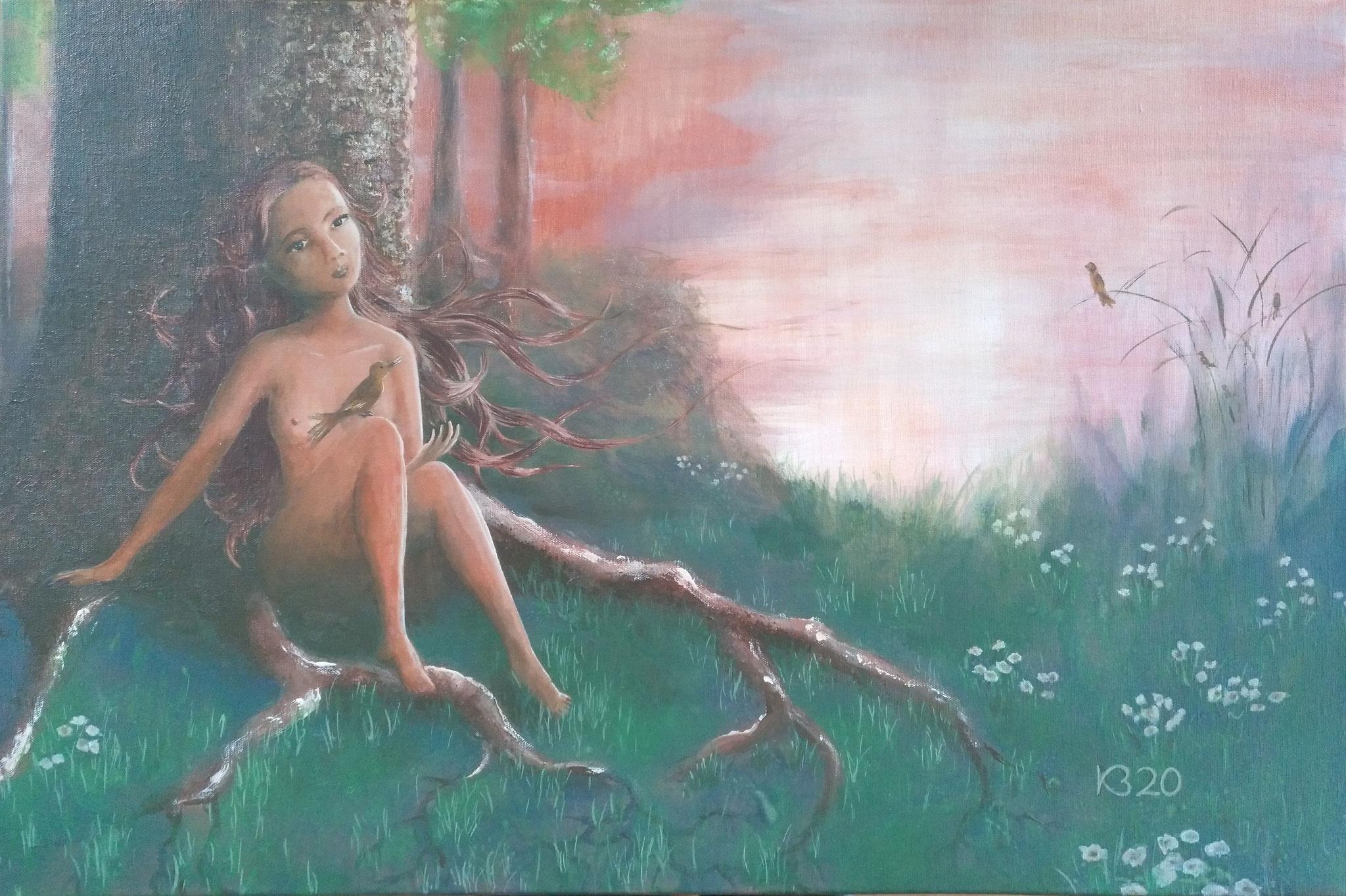 Natur im Abendrot - 40 x 60 - Acryl auf Leinwand - verkauft