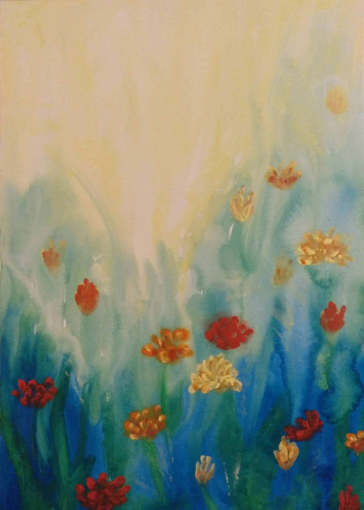 Blumenlicht - 50 x 70 - Mischtechnik auf Leinwand