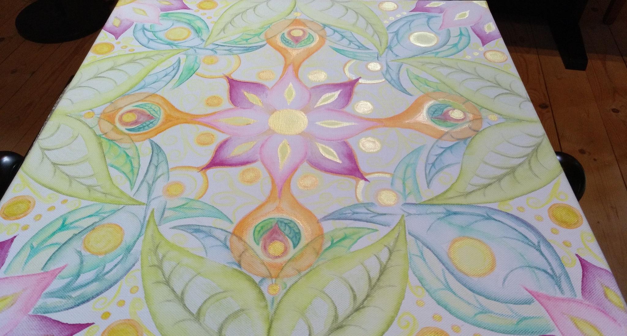 Fülle der Natur - 50 x 50 - Aquarell und Acryl auf Leinwand