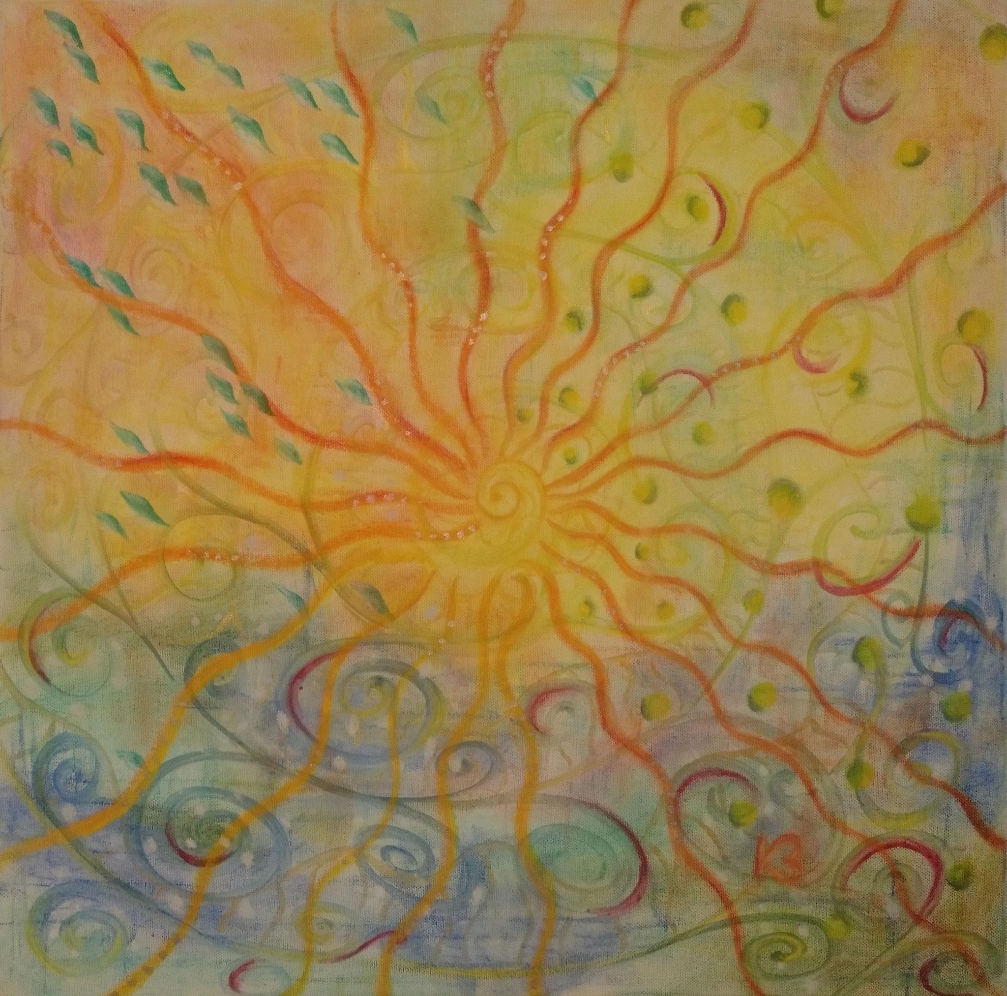 Elemente - 60 x 60 - Pastell und Acryl auf Leinwand