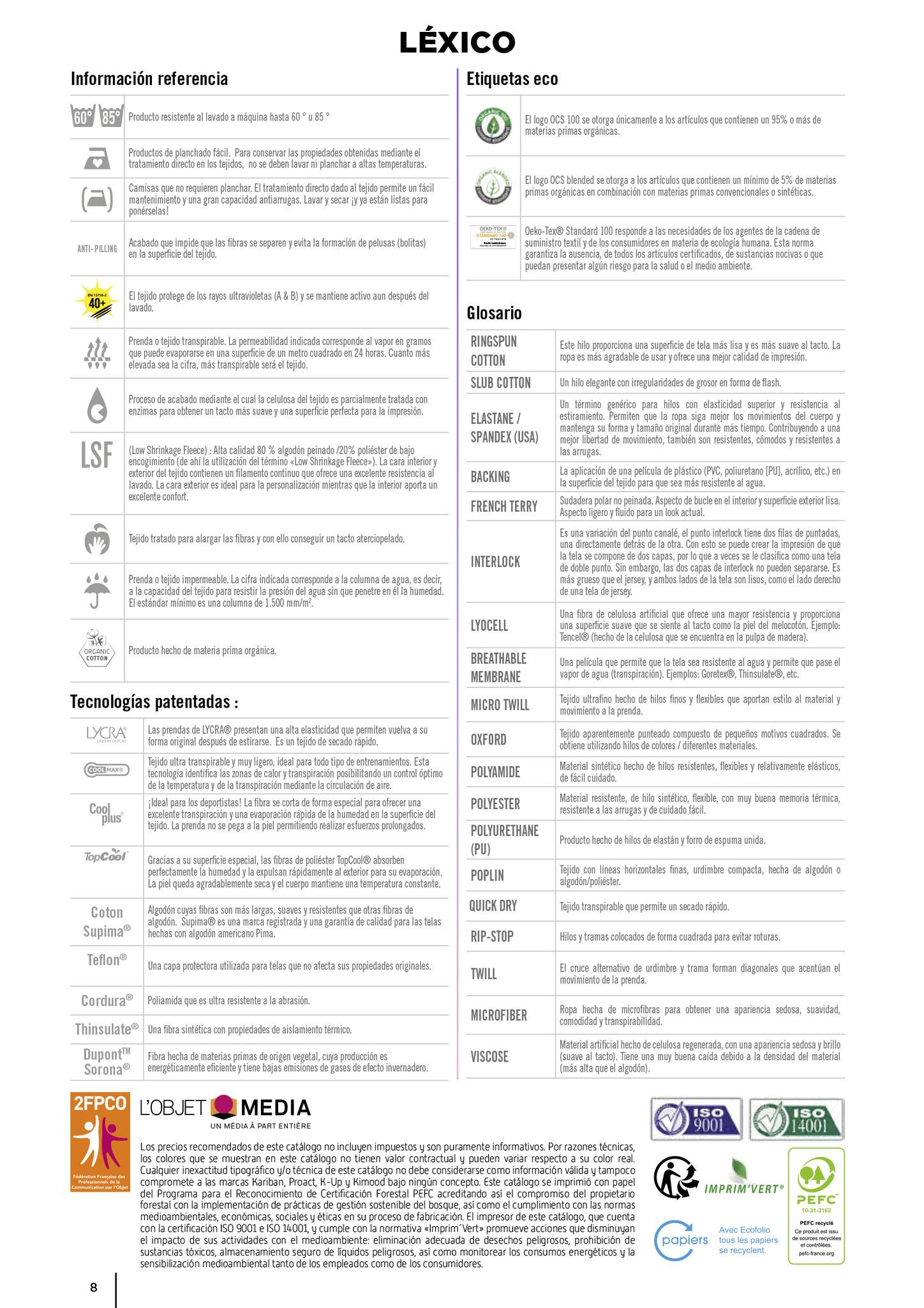 Index textil 2020 , publicidad textil masqueregalos, Marcas Yoko, Dickies, Wrangles, BagBase, Estex, Finden Hales, Larkwood, Rywan, Monnet, Front Row&com