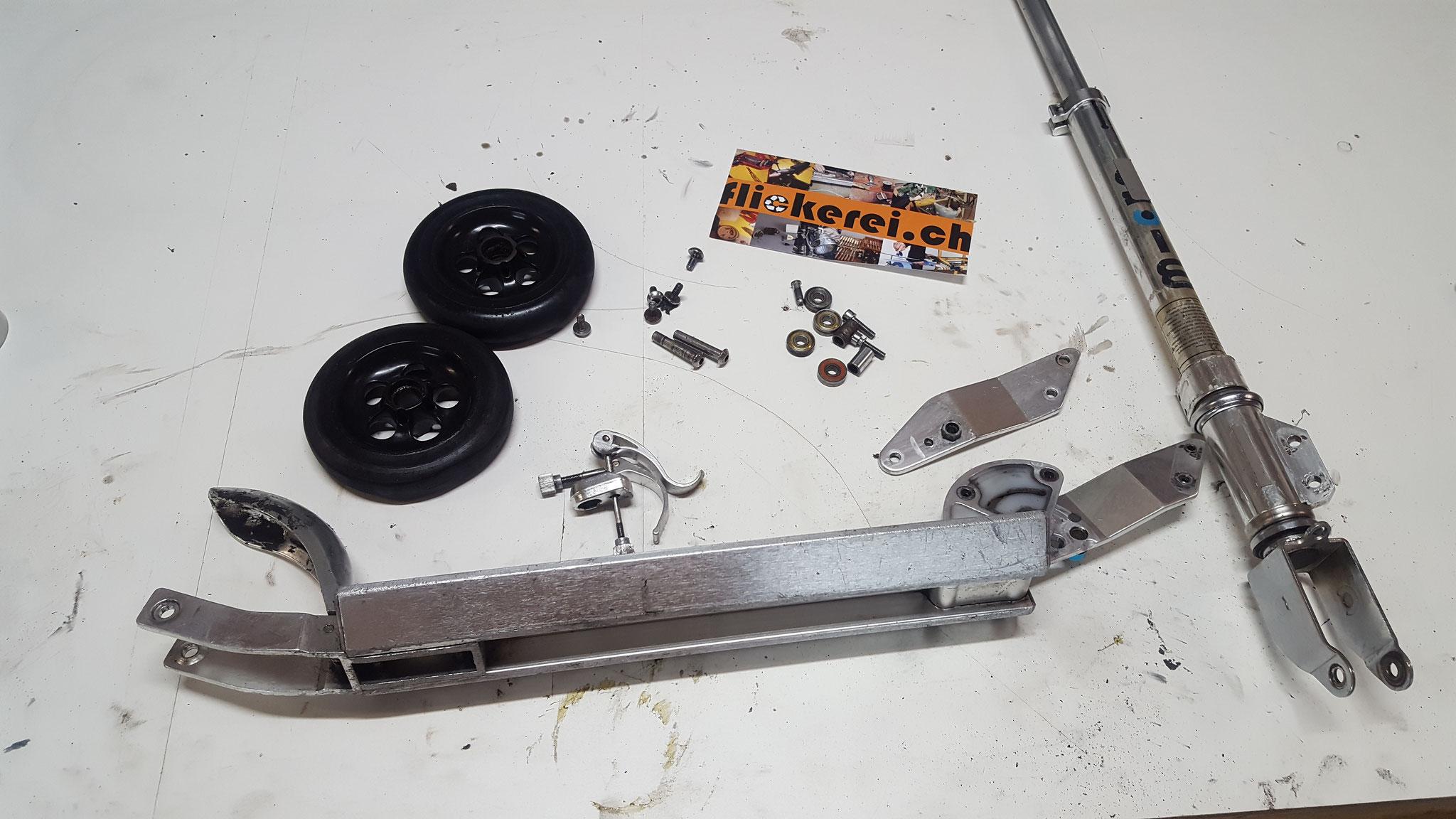 Kickboard repariert und umgebaut