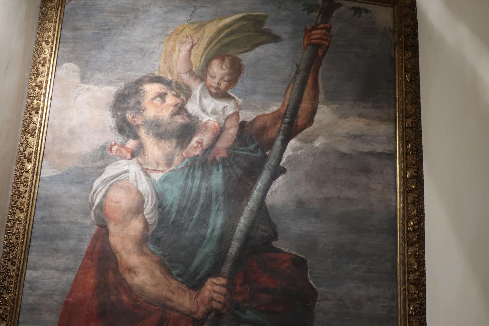 ティツィアーノのフレスコ画  「増水した河を渡る聖クリストフォーロ」