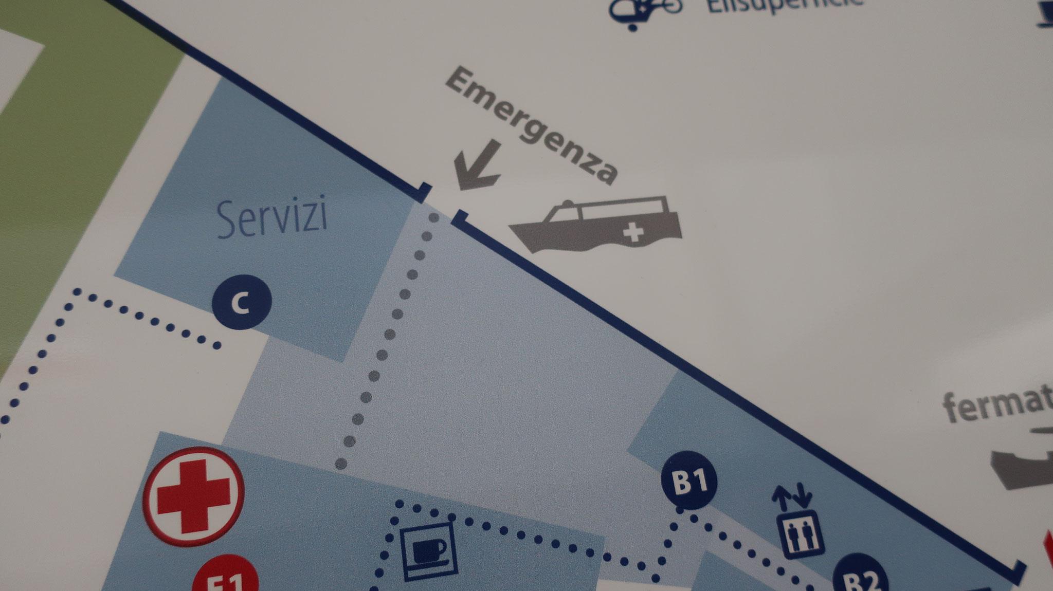 「救急ボート」入口の案内図。「救急車」ではありません。さすが、「水の都」ヴェネツィアです。