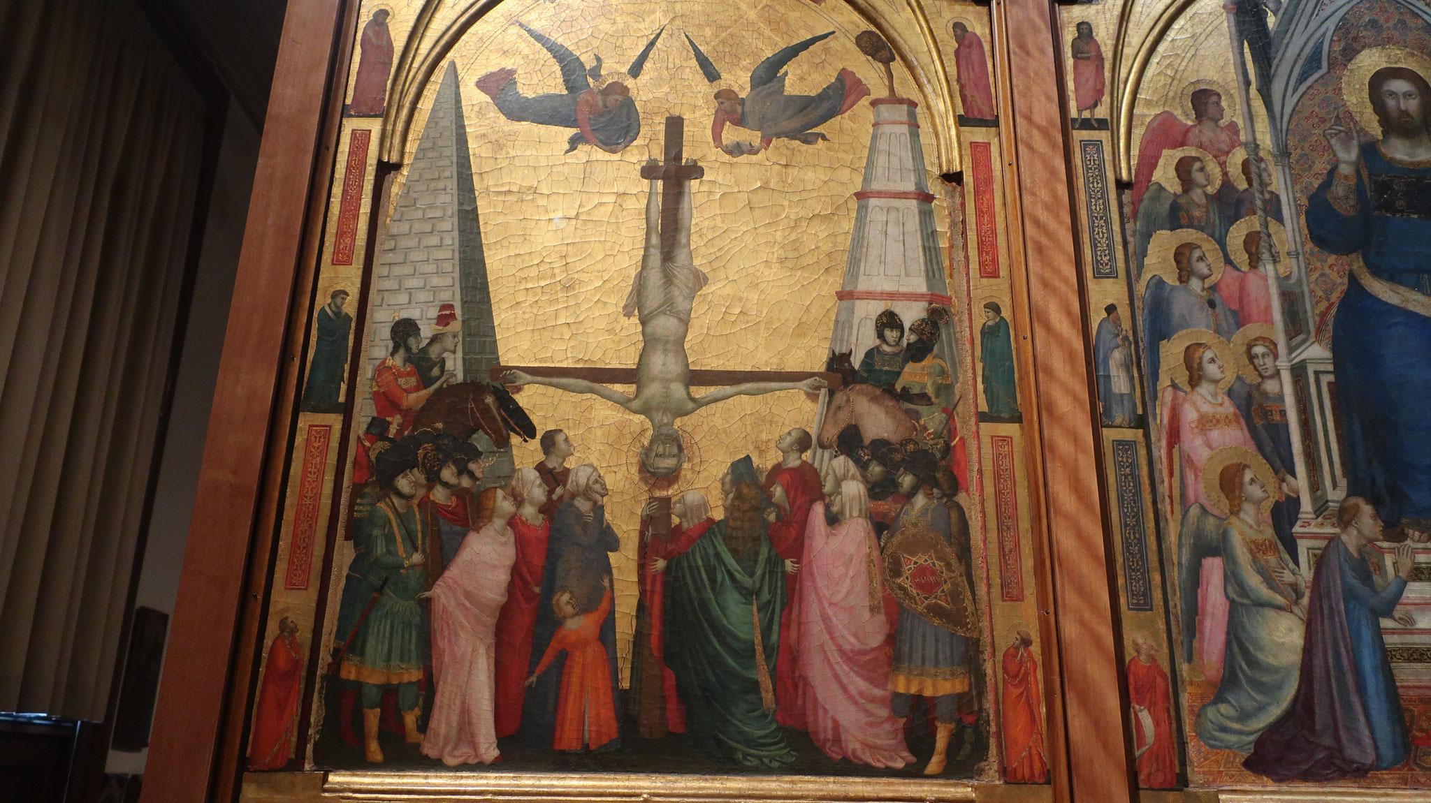 ステファネスキの祭壇画にある、逆さ磔(はりつけ)にされる聖ピエトロ(ペトロ)。13世紀。