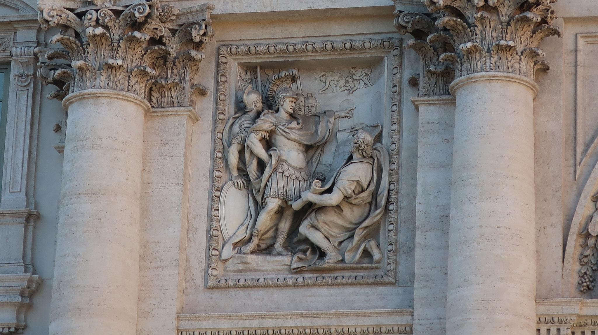 アグリッパが泉の水をローマに引く計画をアウグストゥス帝に説明している様子。