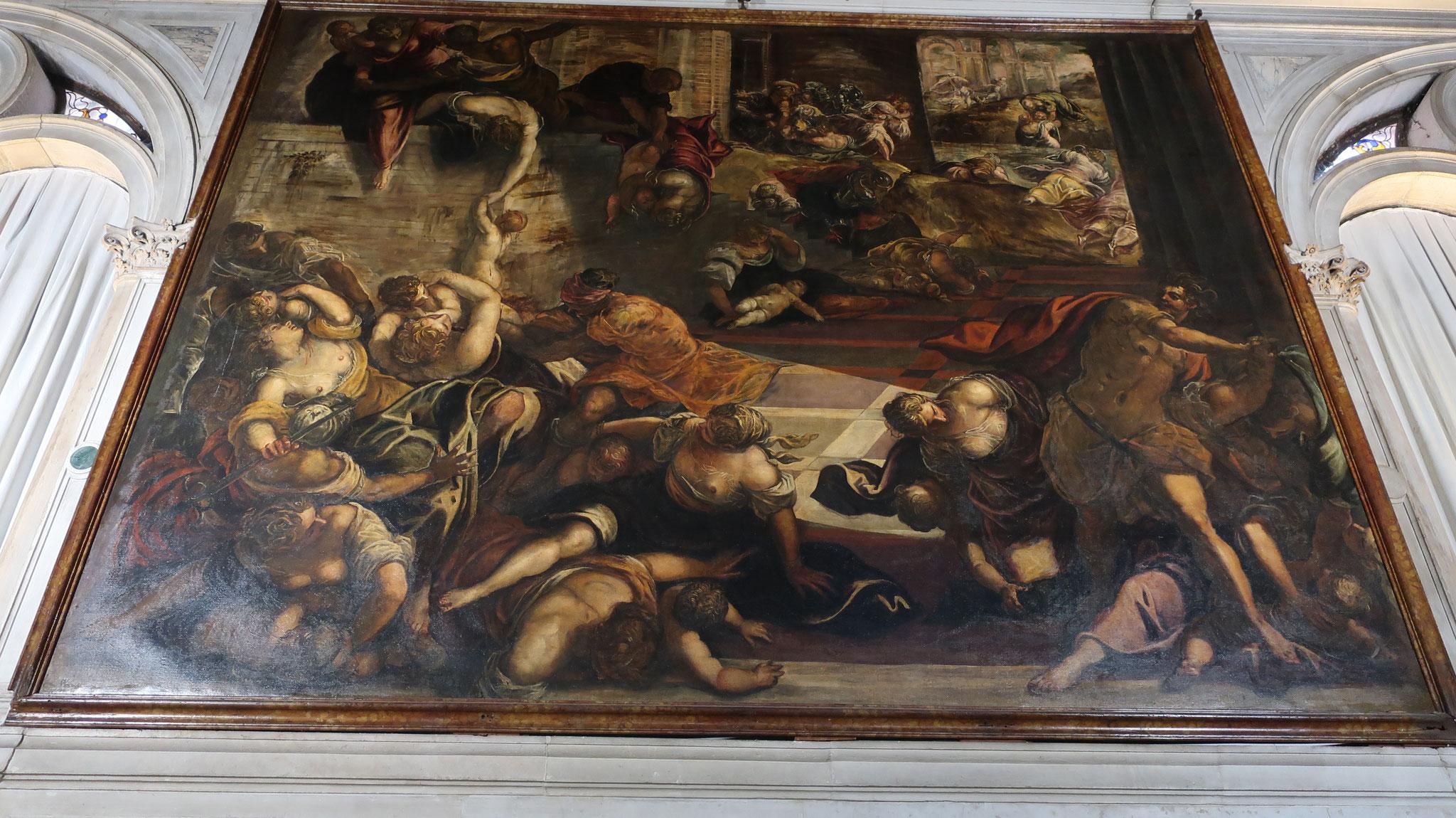 嬰児(えいじ)虐殺。ティントレット作。イエス・キリストが生まれた頃、生まれた子が王を滅ぼすという予言を聞いたローマ皇帝が、嬰児の皆殺しを命令したという逸話が描かれています。。