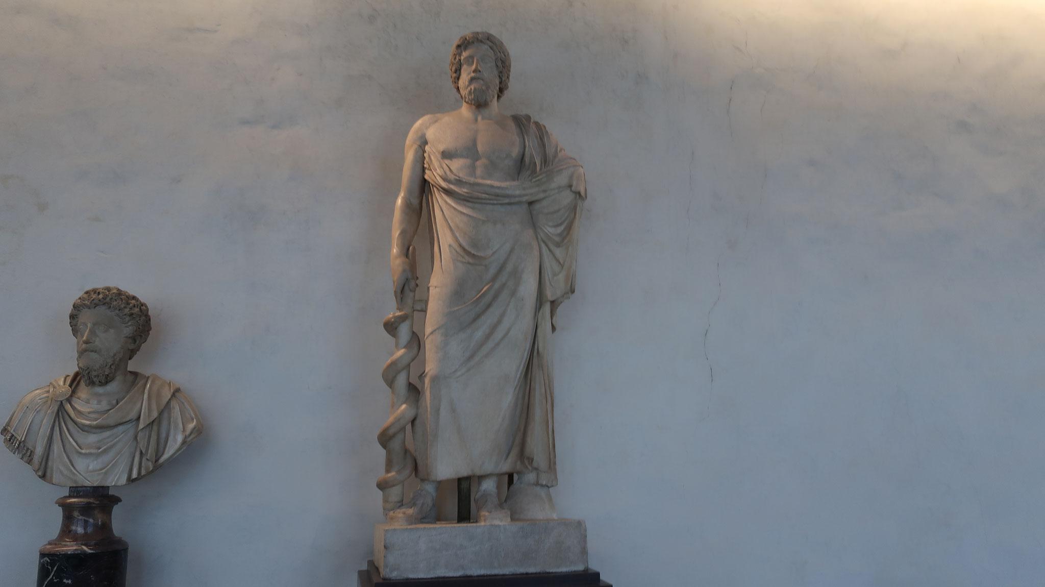 ギリシャ神話の医神「アスクレピオス」彫像。右手には蛇が巻き付いた杖を持ちます。蛇は生命の象徴です。
