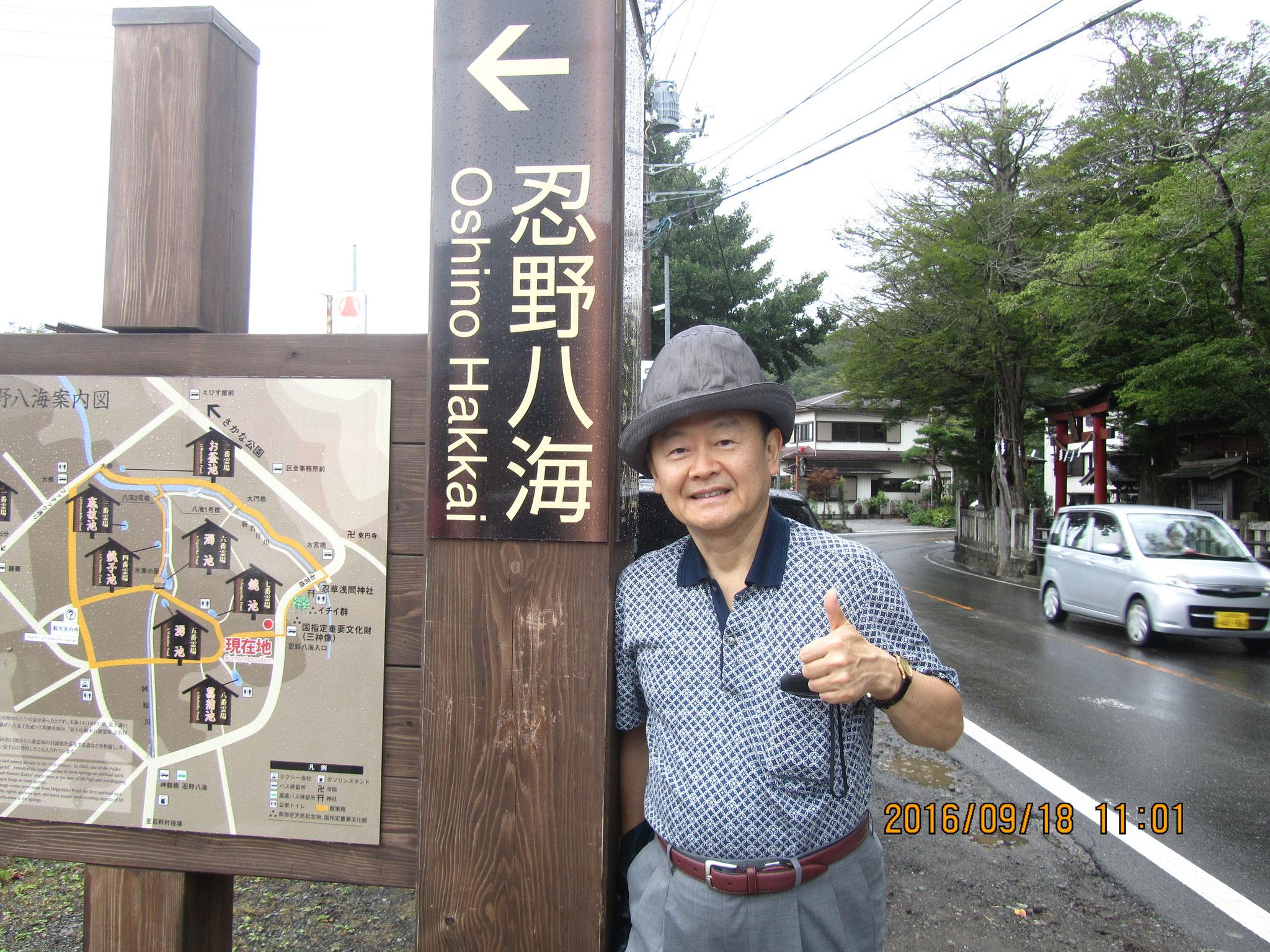 天然記念物である「忍野(おしの)八海(はっかい)」は、富士山の伏流水に水源を発する8つの湧水池(ゆうすいいけ)です。