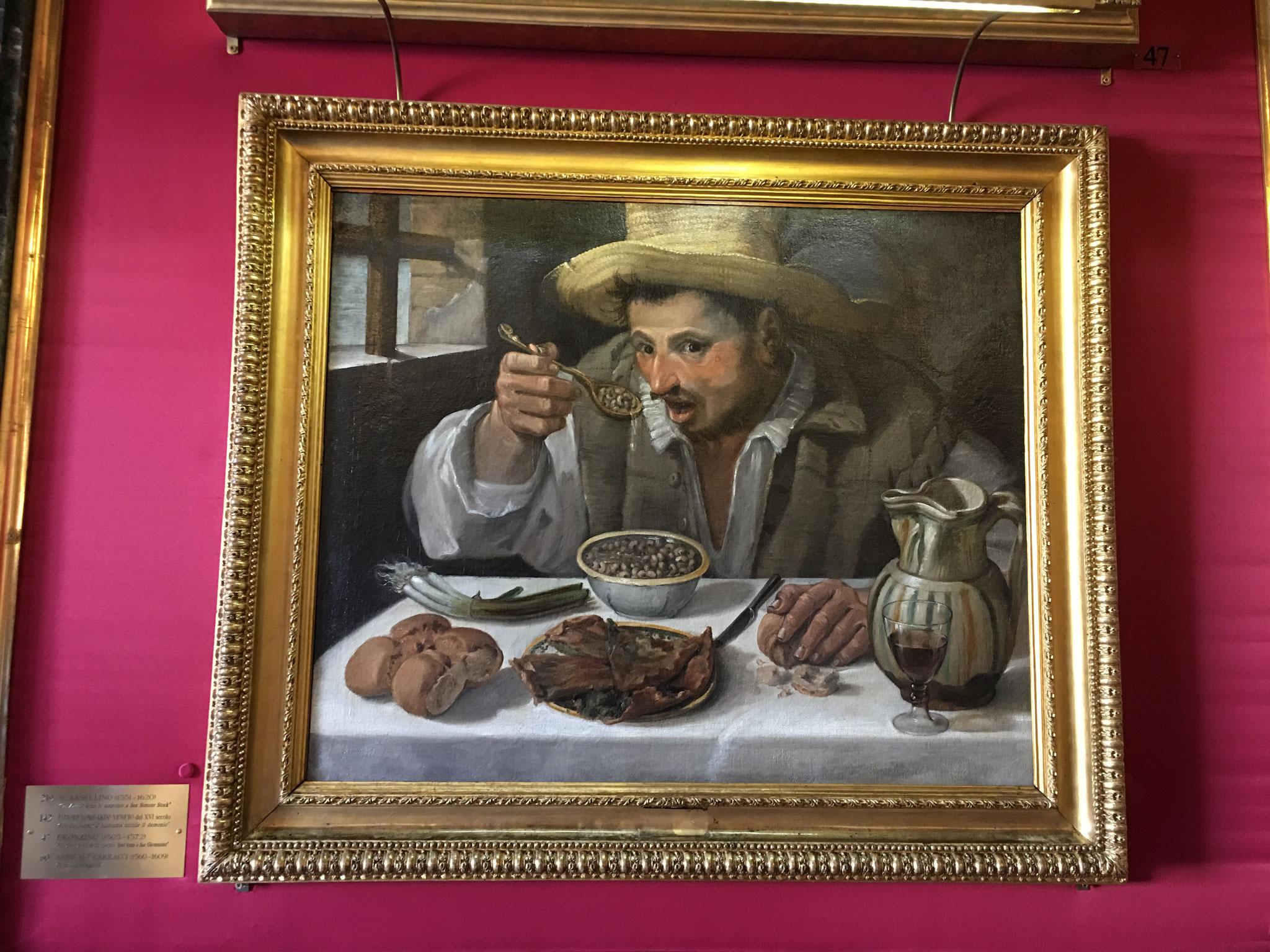 マルティヌス5世神格化の間。「豆を食べる男」 アンニバーレ・カラッチ作。