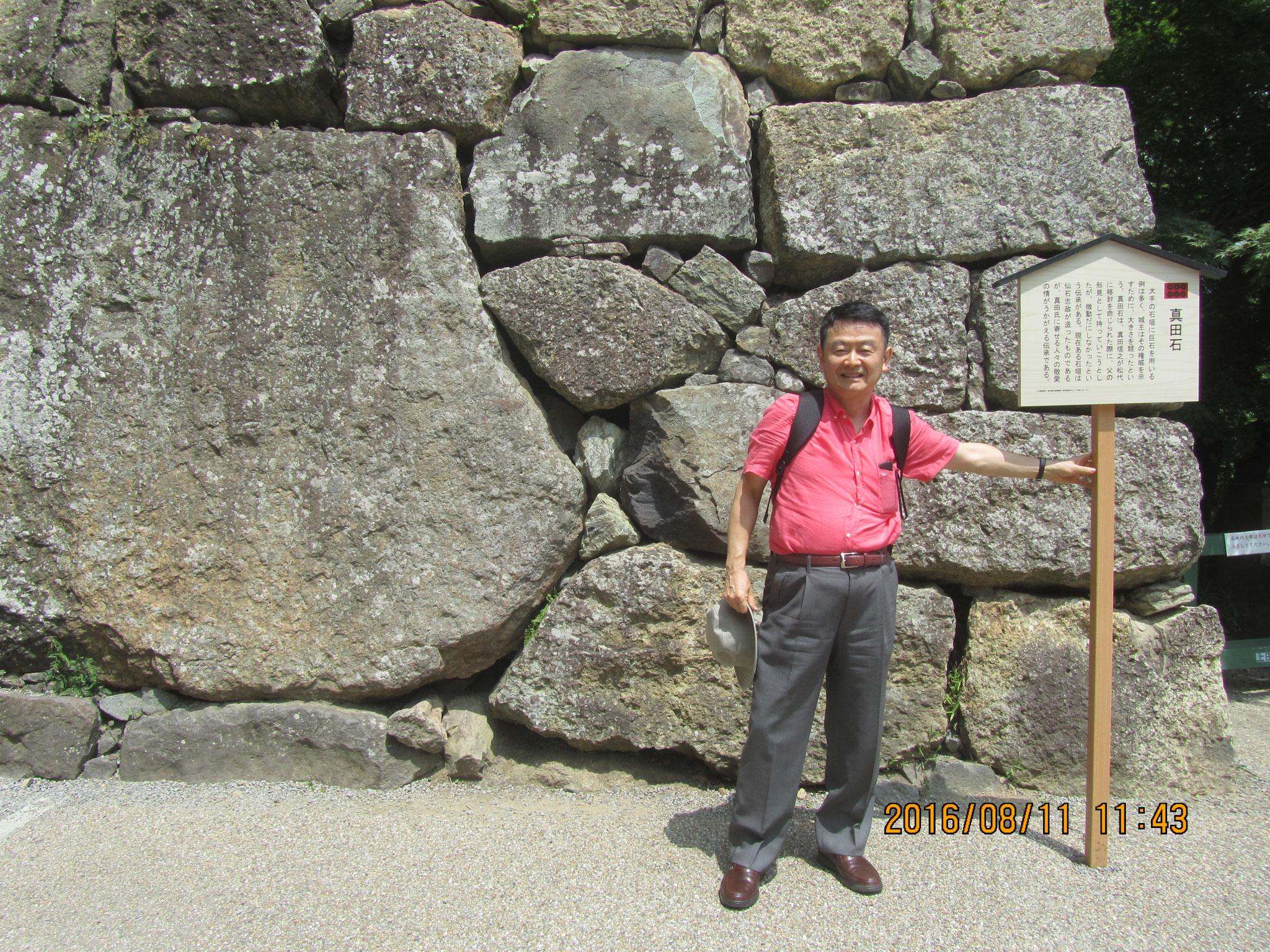 東虎口櫓門(ひがしこぐちやぐらもん)の右の石垣の中にある城内最大の石が真田石(さなだいし)。真田家が松代に移封された際、信之が父・昌幸の形見として運ぼうとしたが微動だにしなかったと伝えられています。