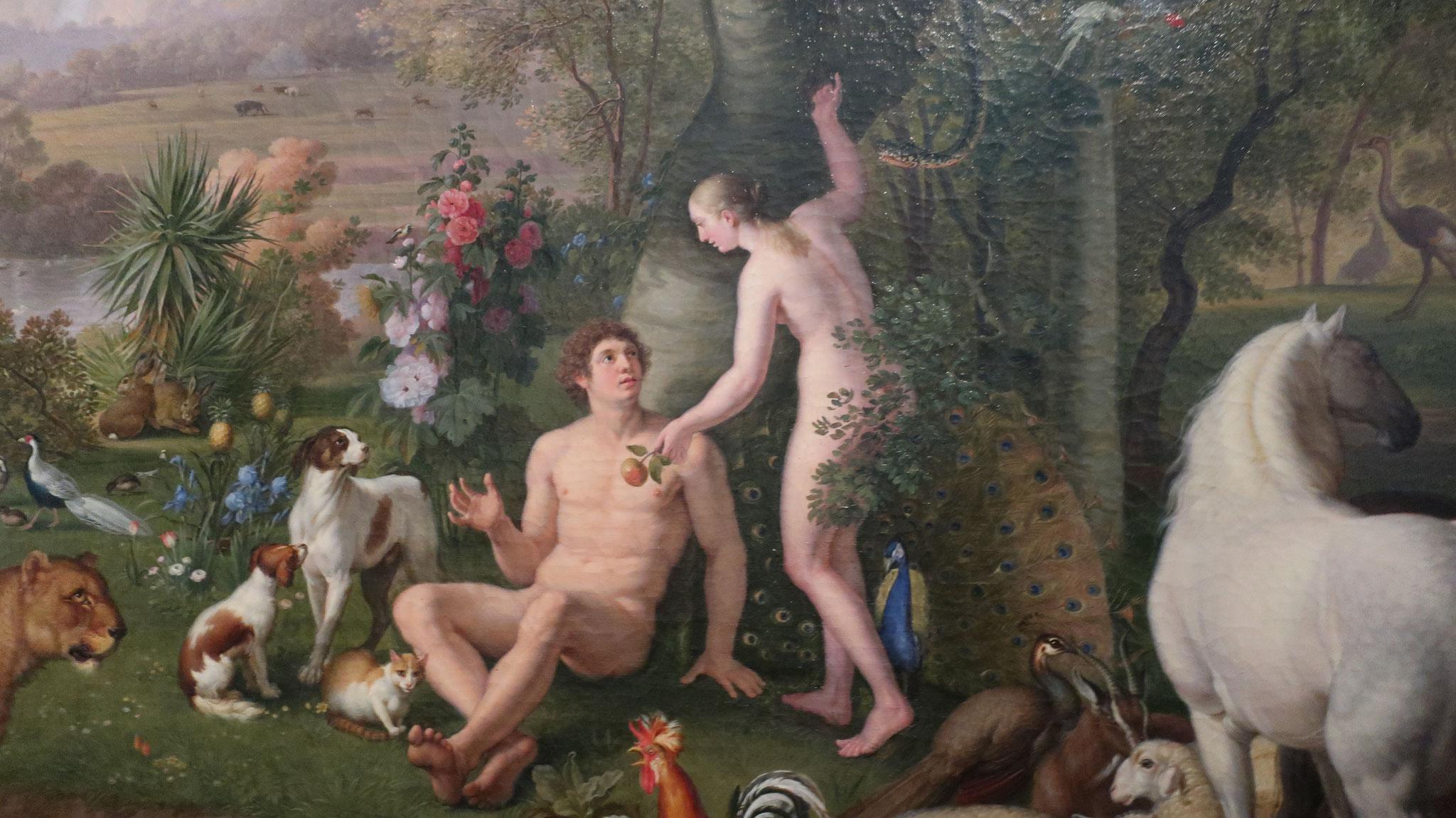 エデンの園のアダムとイブ。ウェンツェル・ペーター作。