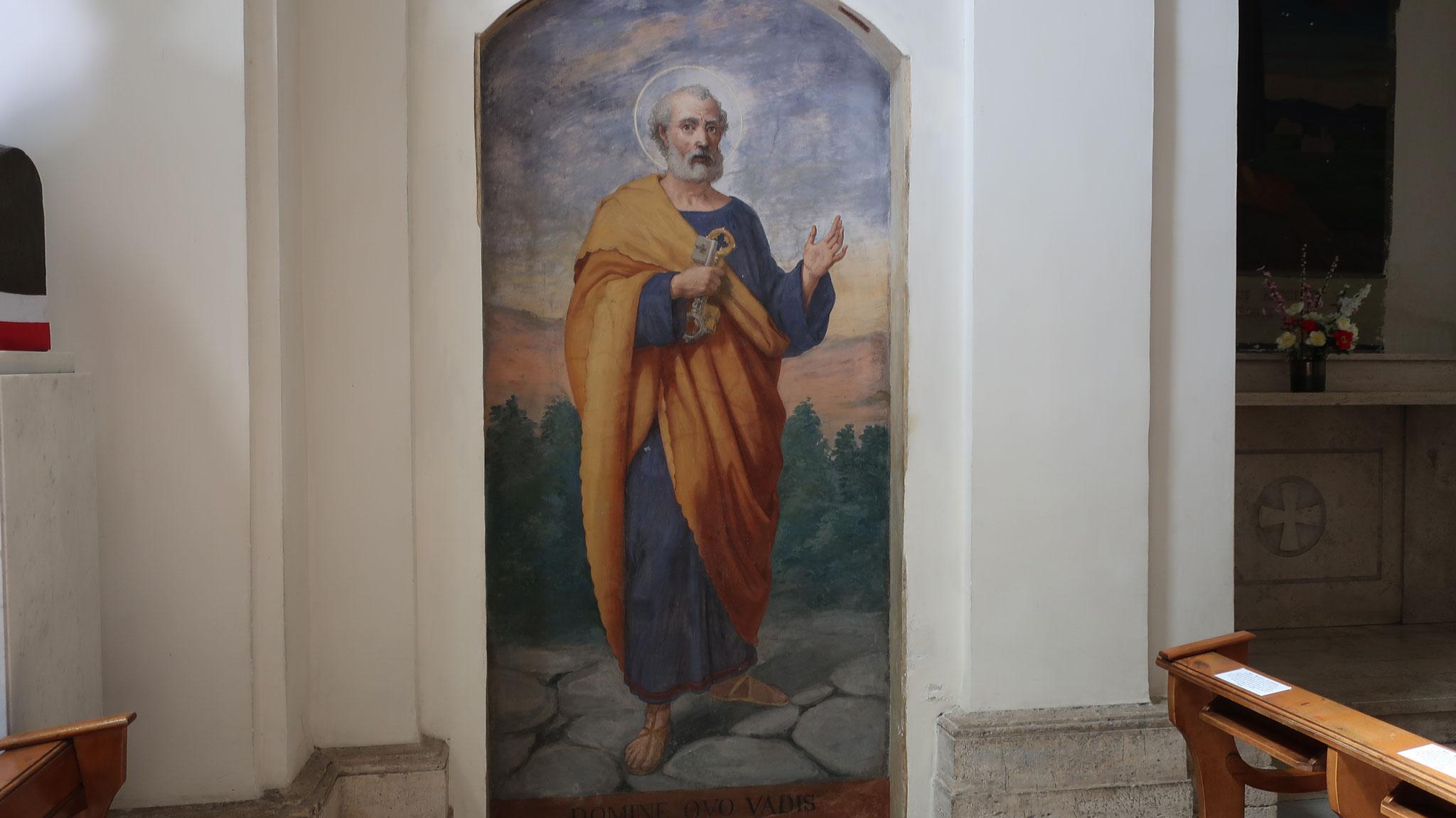 皇帝ネロによるキリスト教弾圧のため、ローマから逃げ出したペトロは、ここでイエスに遭遇しました。そして、「ドミネ、クォ・ウァディス?」(主よ、どこへ行くのですか?)と尋ねました。