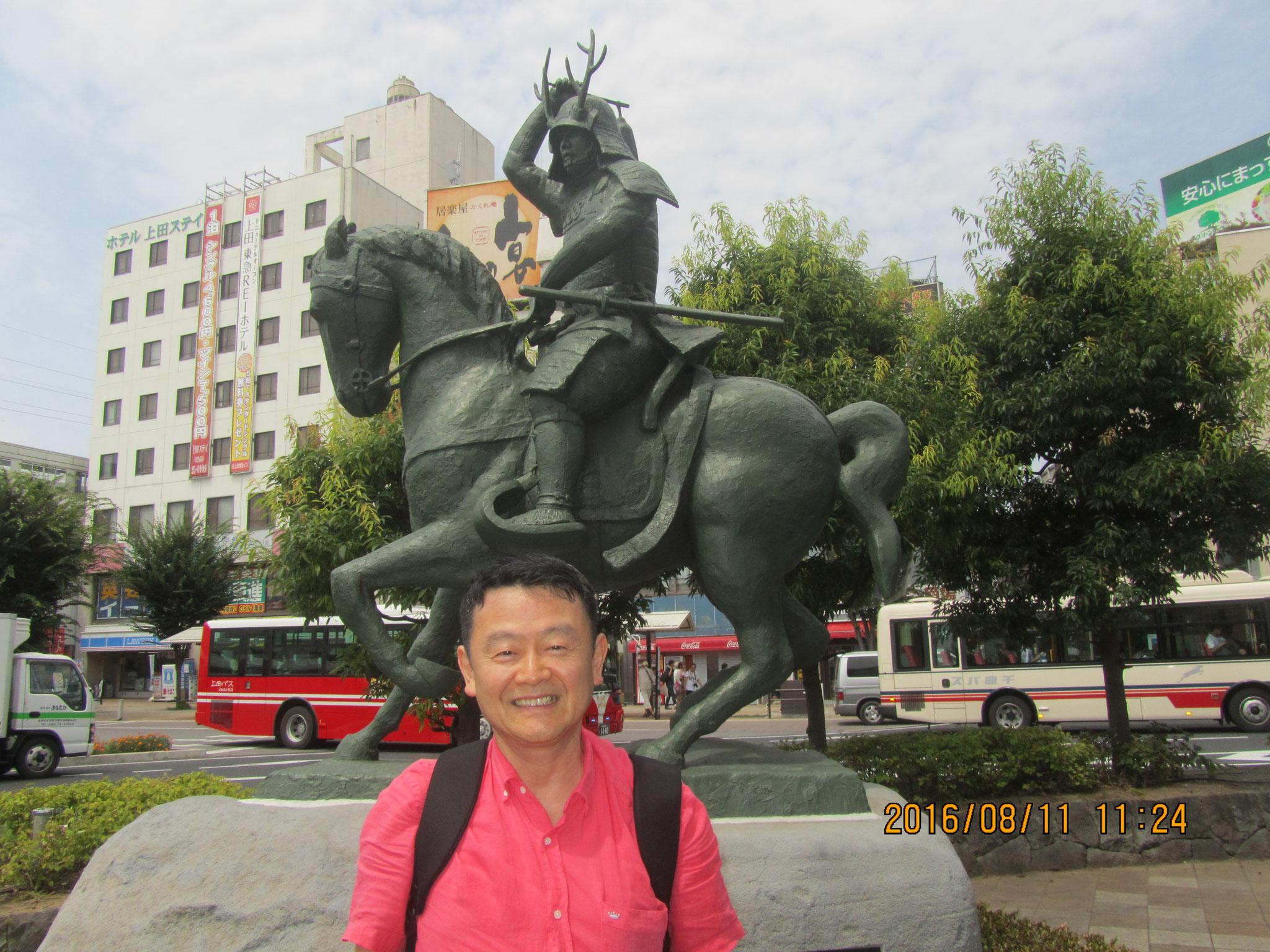 上田駅前の真田(さなだ)幸村(ゆきむら)騎馬像