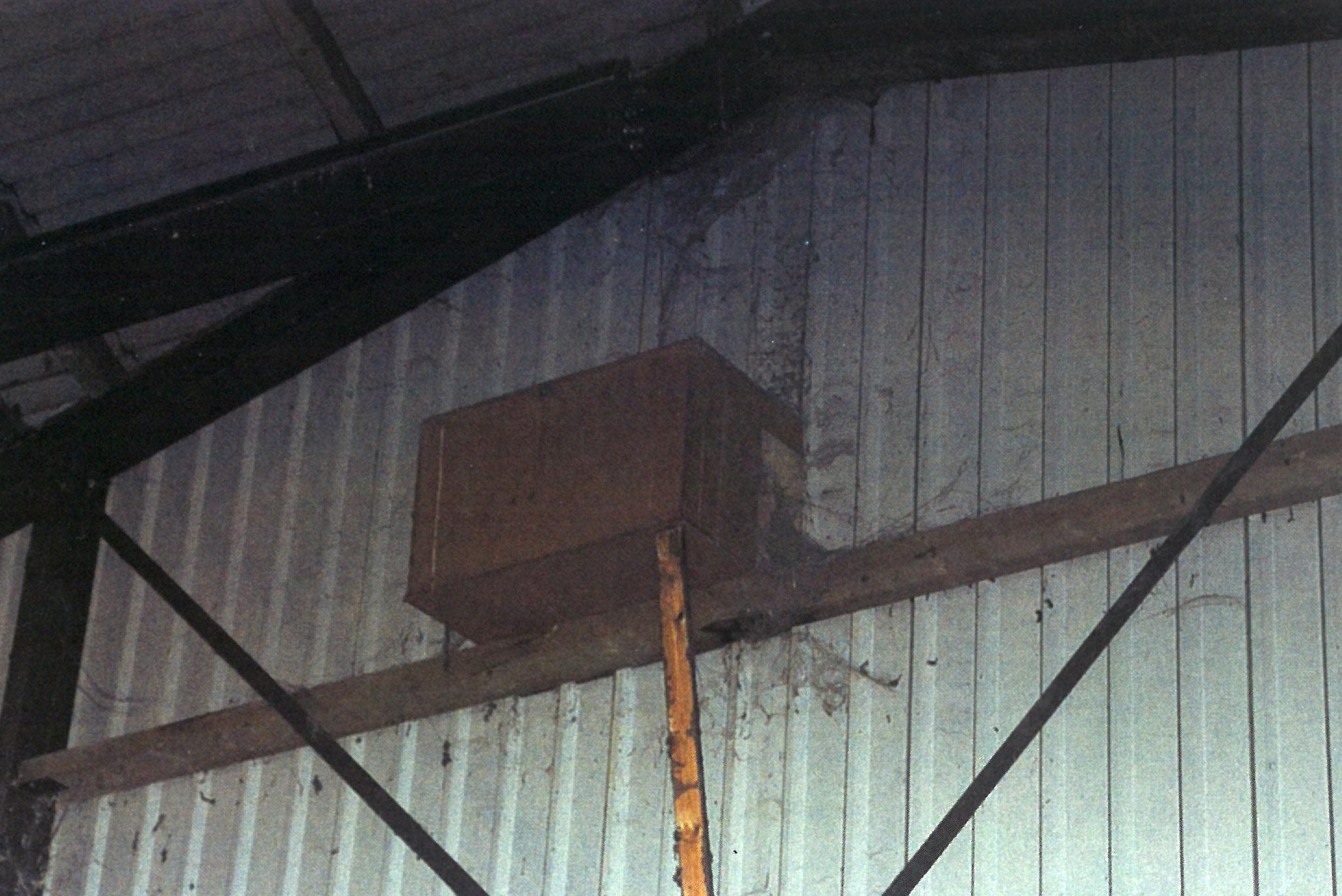 Schleiereulen-Nistkasten unter dem Schleppdach an der Außenfront eines Betriebsgebäudes – Foto: David A. Gray