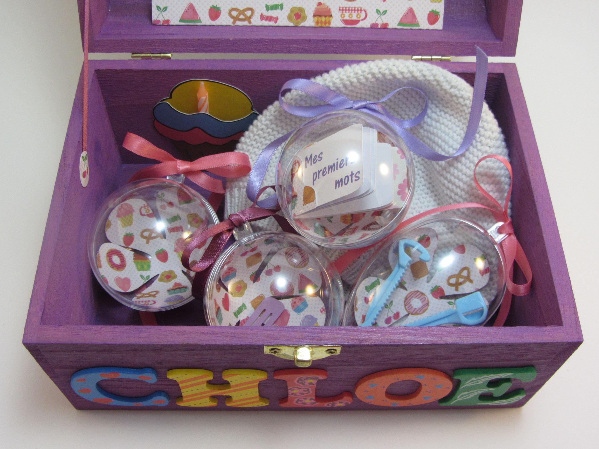 Coffret souvenirs de naissance violet - Le Chaton et sa Poulette