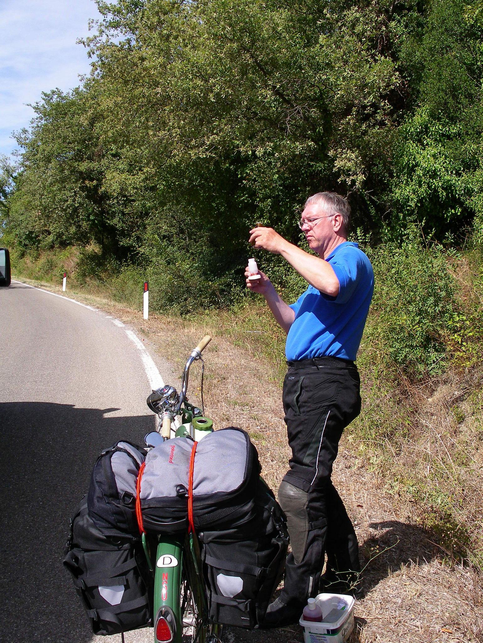 auf der Fahrt in die Toskana ging das Benzin aus
