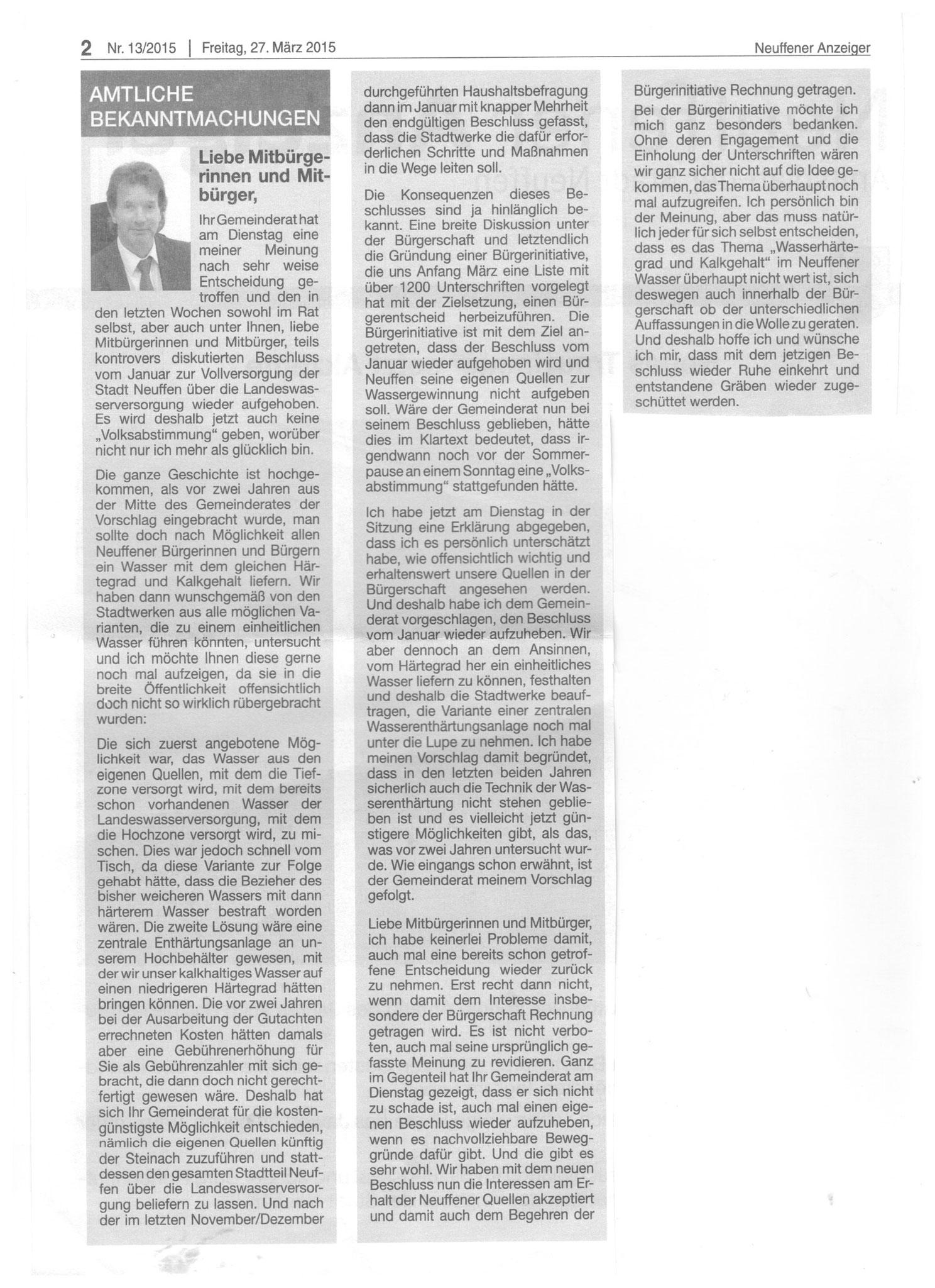 BM Bäcker informiert im Neuffener Stadtanzeiger