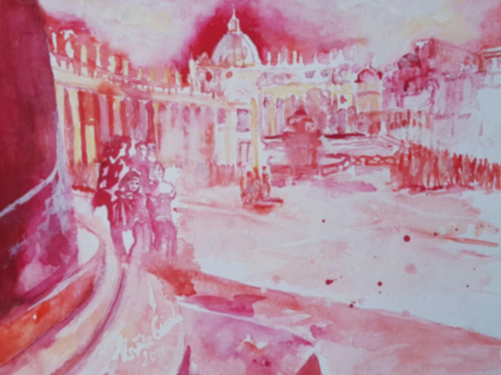 Piazza San Petro in Roma   (Technik: Aquarell  30 X 69 cm)
