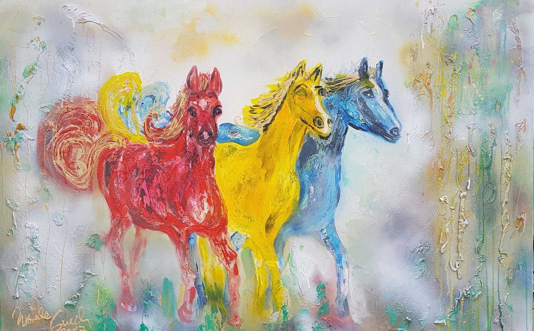 Golden horses (Technik: Acryl/Mixed Media  auf Leinwand: 1,20 m X 90 cm)