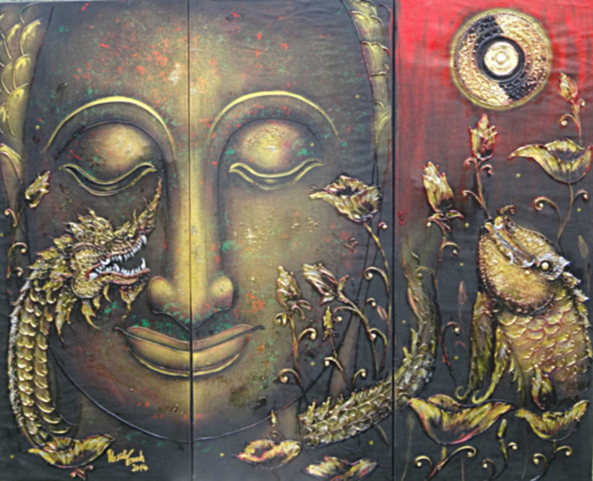 Buddha und der Mythus (Technik: Öl/Acryl auf Leinwand 1,66 m X 1,35 m (dreiteilig))