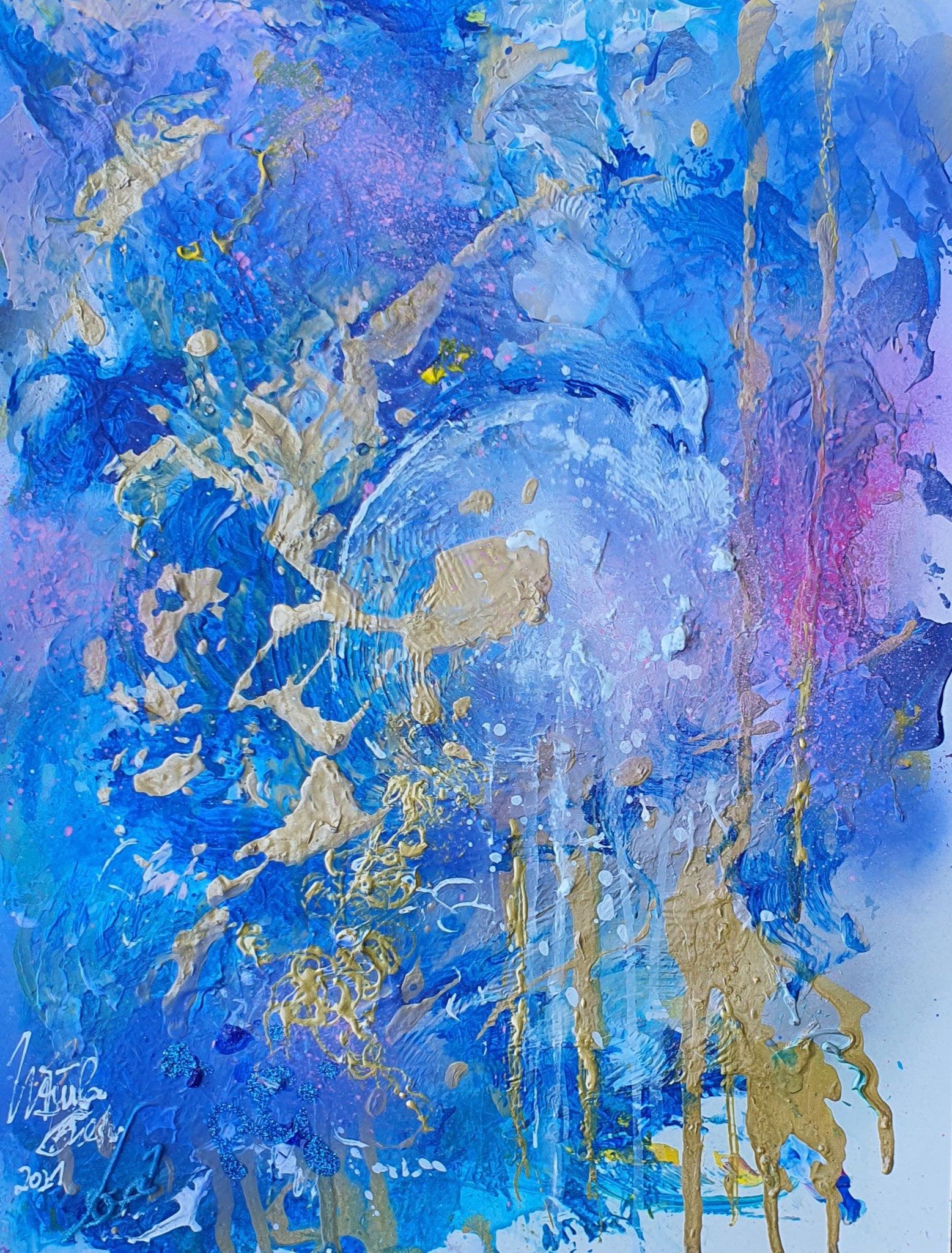 Blue moon in August 2021 (Acry/Mixed Media on Special-paper 30 X 40 X 0,1 cm)