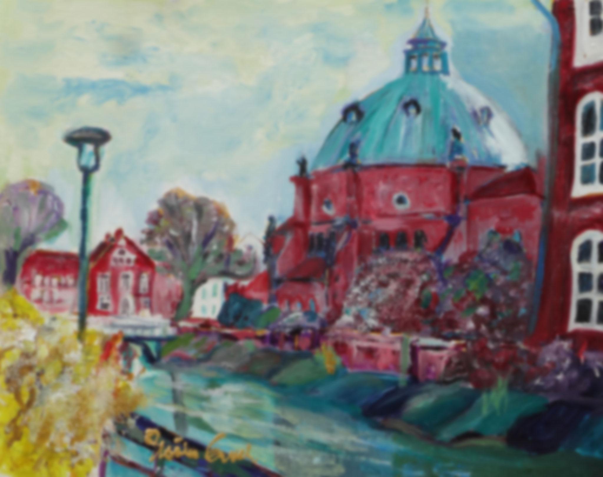 St. Augustinus mit Pfarrhaus  und Burgschule  in Nordhorn   (Technik: Öl   Leinwand: 40 X 30 cm)