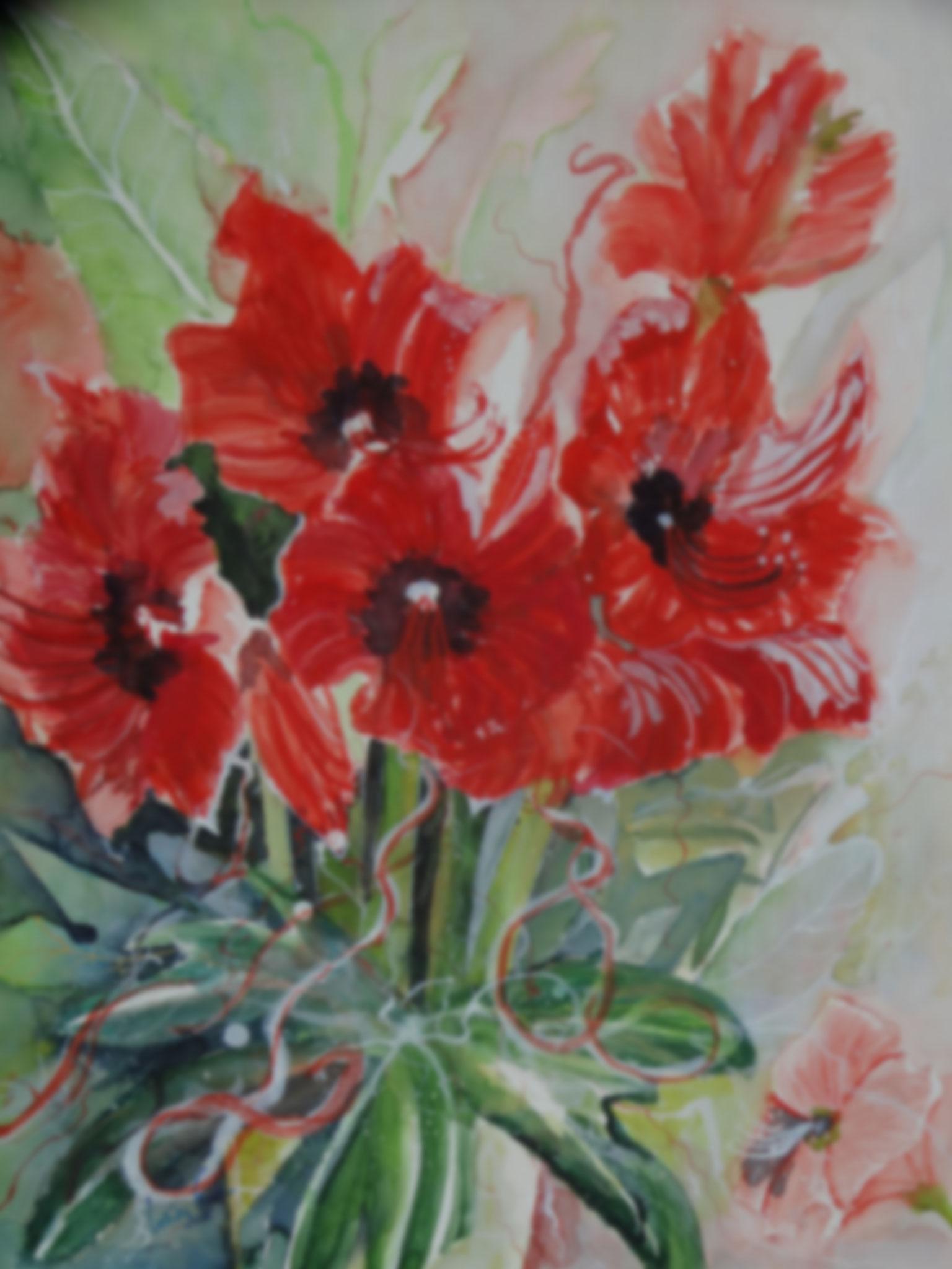 Amaryllis      (Technik: Aquarell  auf  Fabriana Satinata 600 g      56 X 76 cm)
