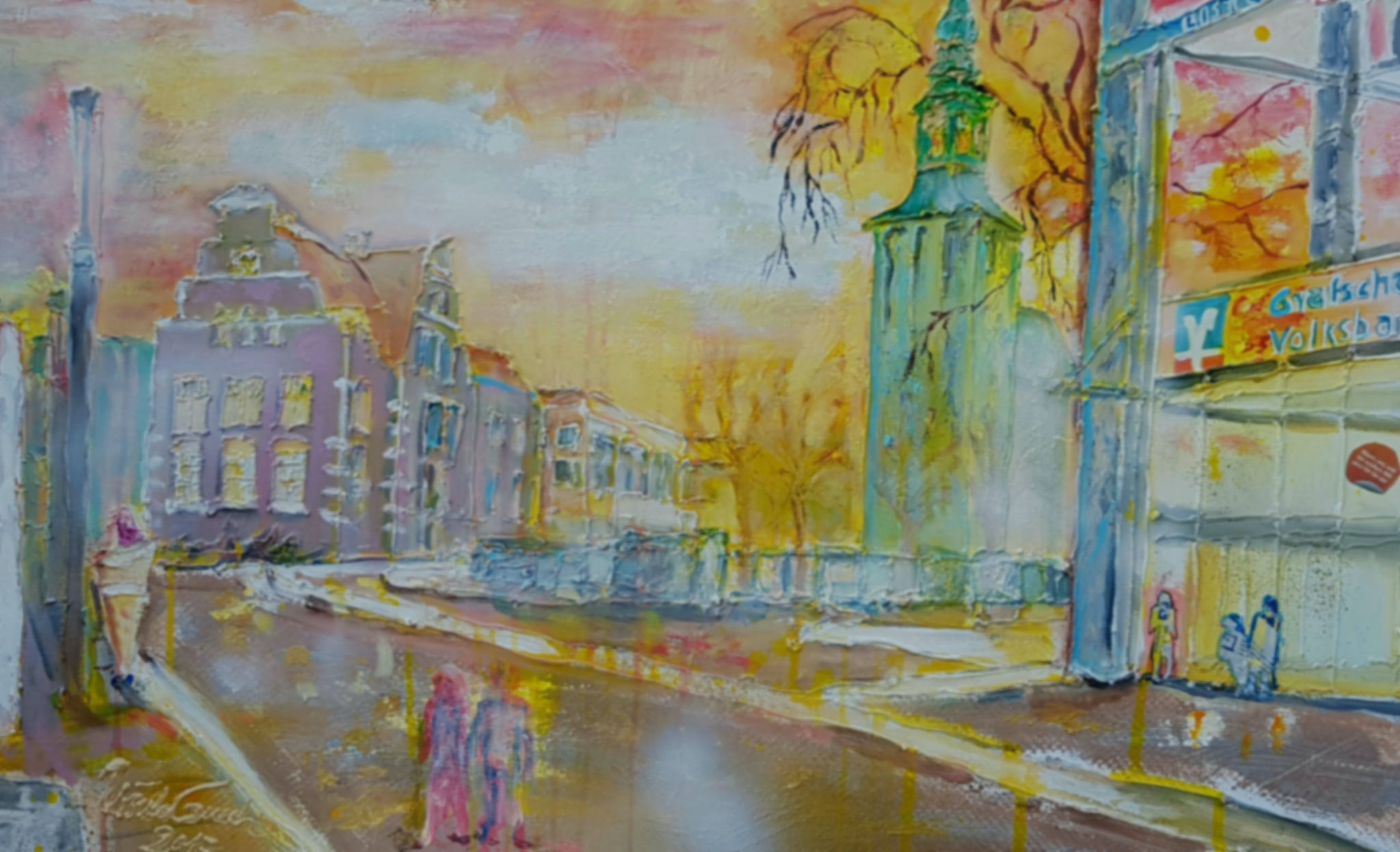 "Abendstimmung in der ""Wallstreet of Nordhorn"" (Technik: Mixed Media  Leinwand: 1,20 m X 90 cm)"