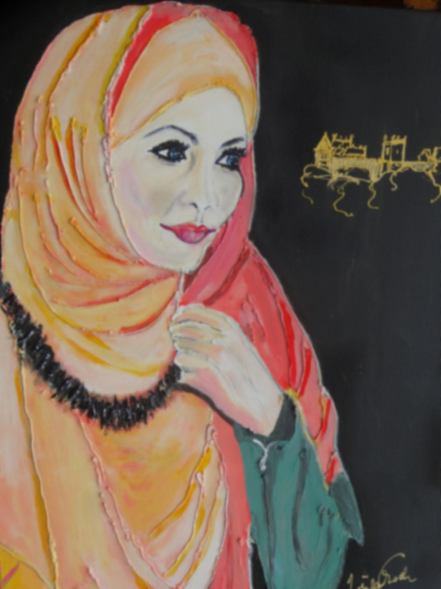 Muslimin in der Grafschaft Bentheim     (Technik: Acryl     Leinwand: 80 X 60 cm)