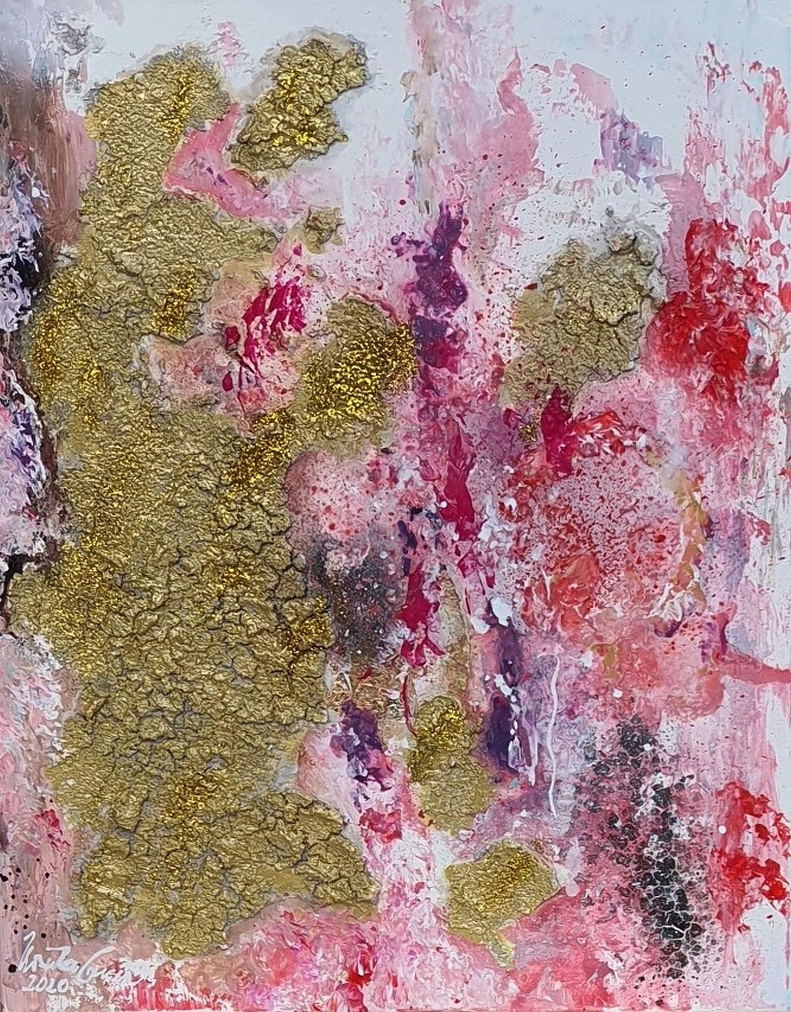 La vie en rose pour deux (Technik: Acryl/Mixed Media + paper-gold auf Leinwand 50 X 40 X 1,5 cm)
