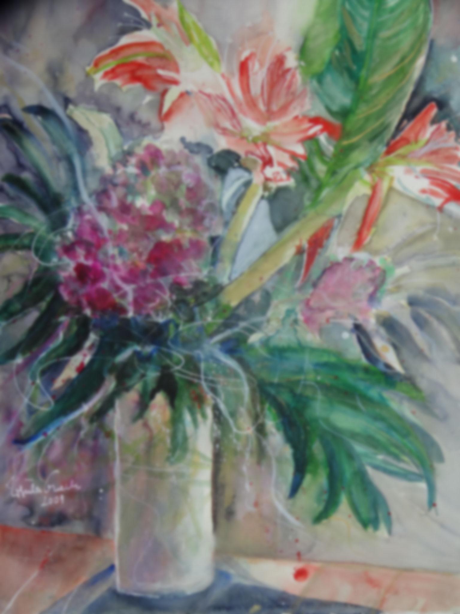 Flamingo-Blume        ( Technik: Aquarell  auf  Fabriana Satinata   600 g   56 X 76 cm))