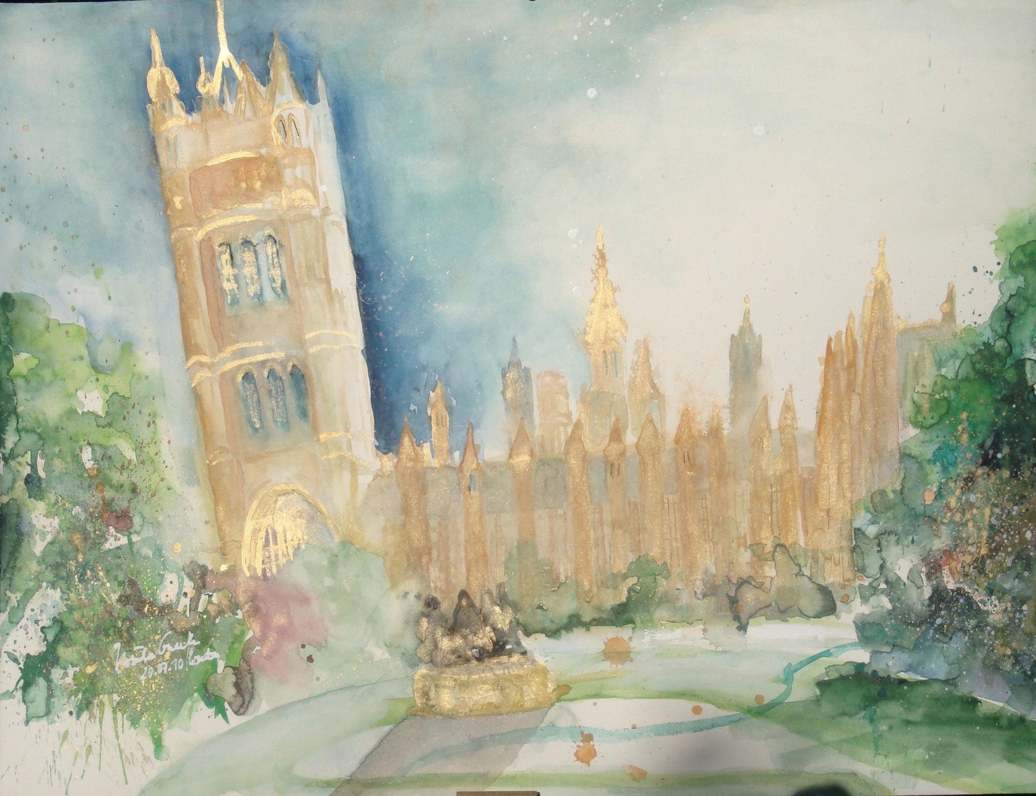 Victoria Tower Gardens in London    (Technik: Aquarell auf Fabriano   600 g Satinata   76 X 56 cm)