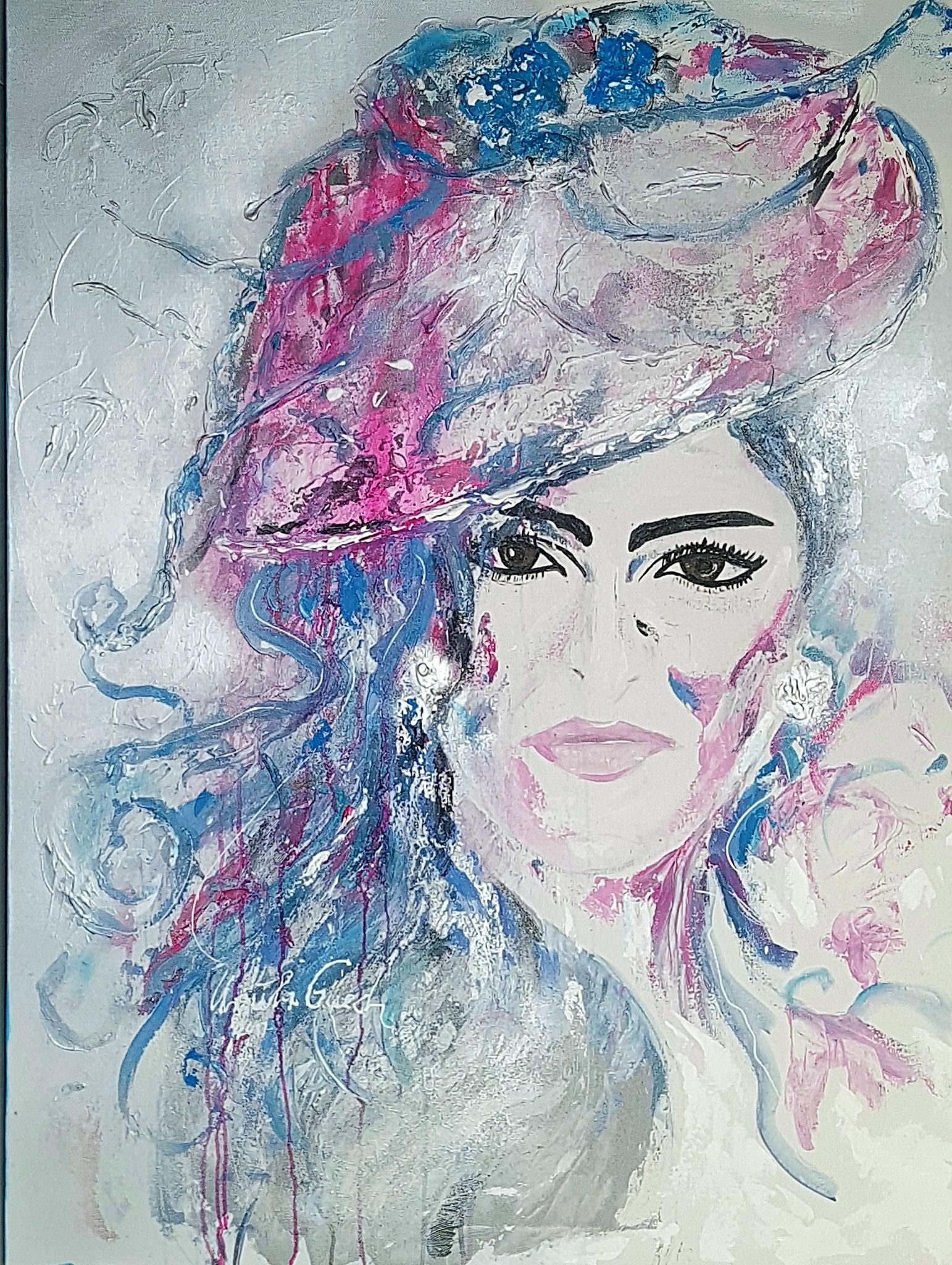 Princess Ameerah Al Taweel von  Saudi-Arabien (Technik: Acryl/Mixed Media auf Leinwand 90 X 120 cm)