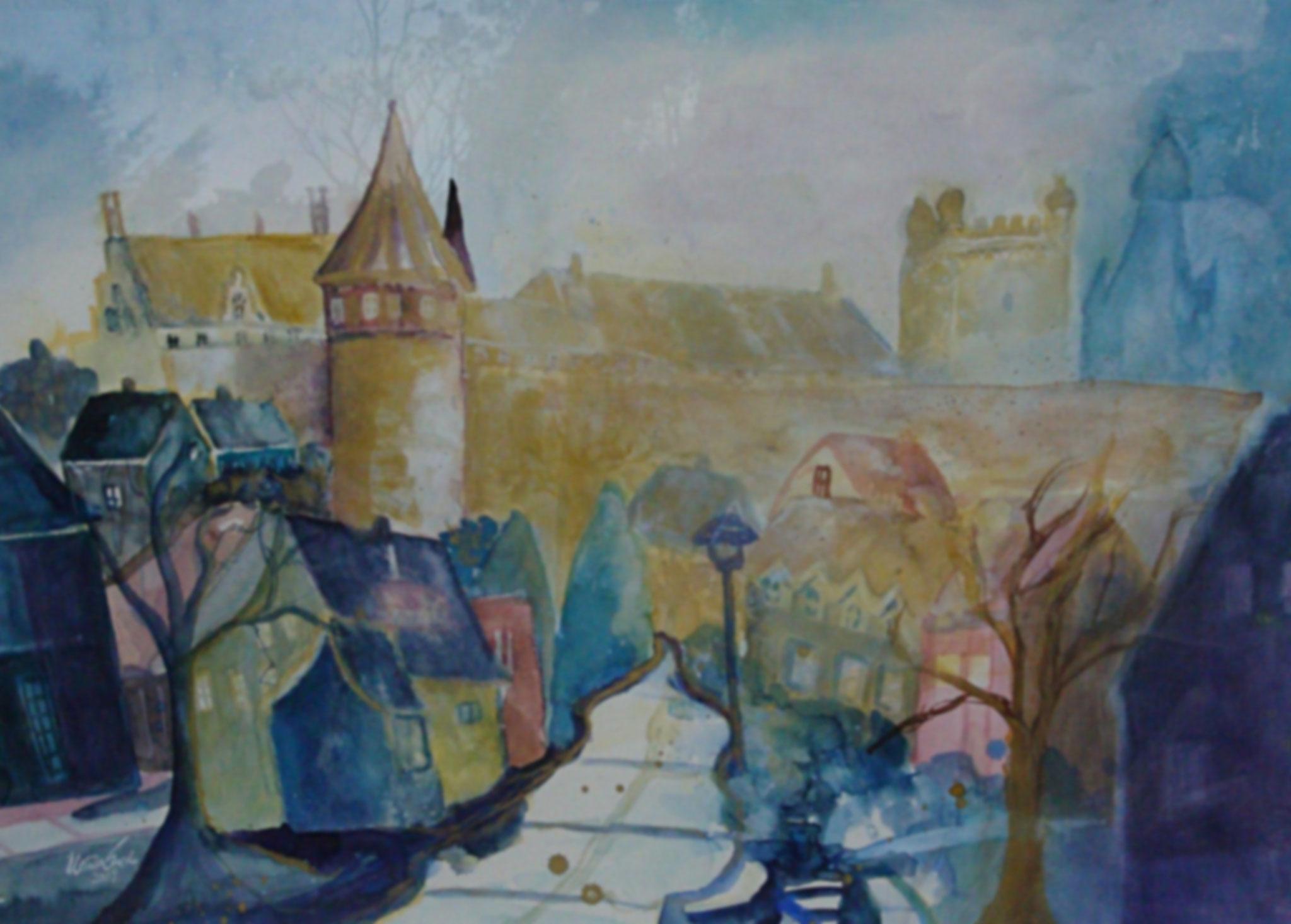 Bad Bentheim und die Burg     (Technik: Aquarell)