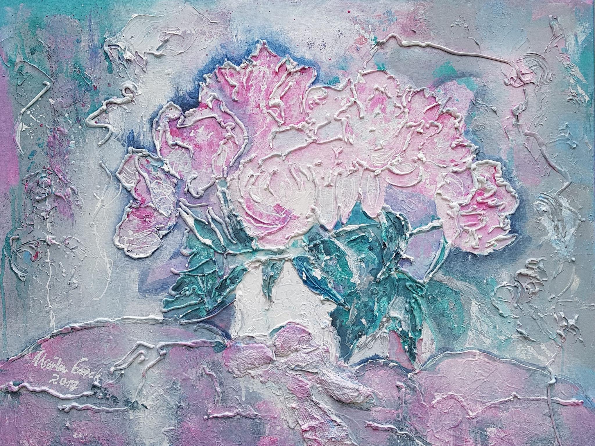 La vie en rose (Technik: Acryl/Mixed Media auf Leinwand 80 X 60 cm)