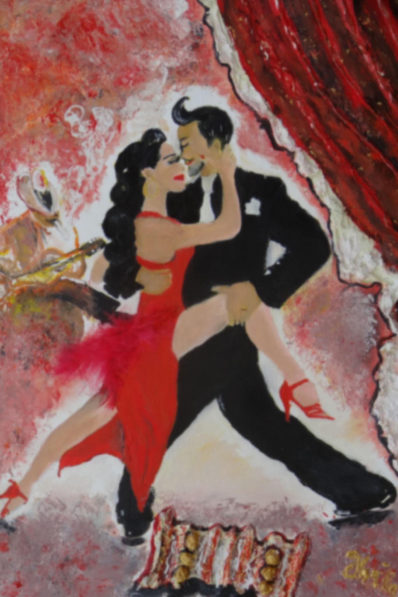 Tango Argentina    (Technik: Öl/Acryl     auf Acryl-paper  55 X 42 cm )