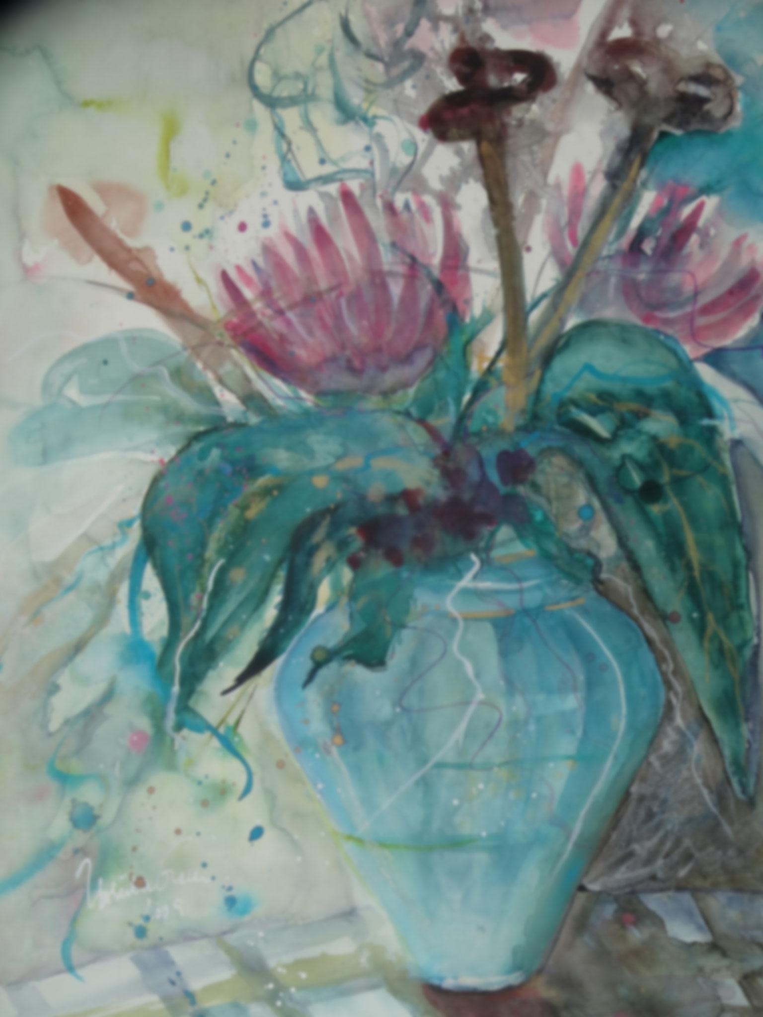 Ananas-Blüte in blauer Vase     ( Technik: Aquarell   auf  Fabriana Satinata 600 g   56 X 76 cm)
