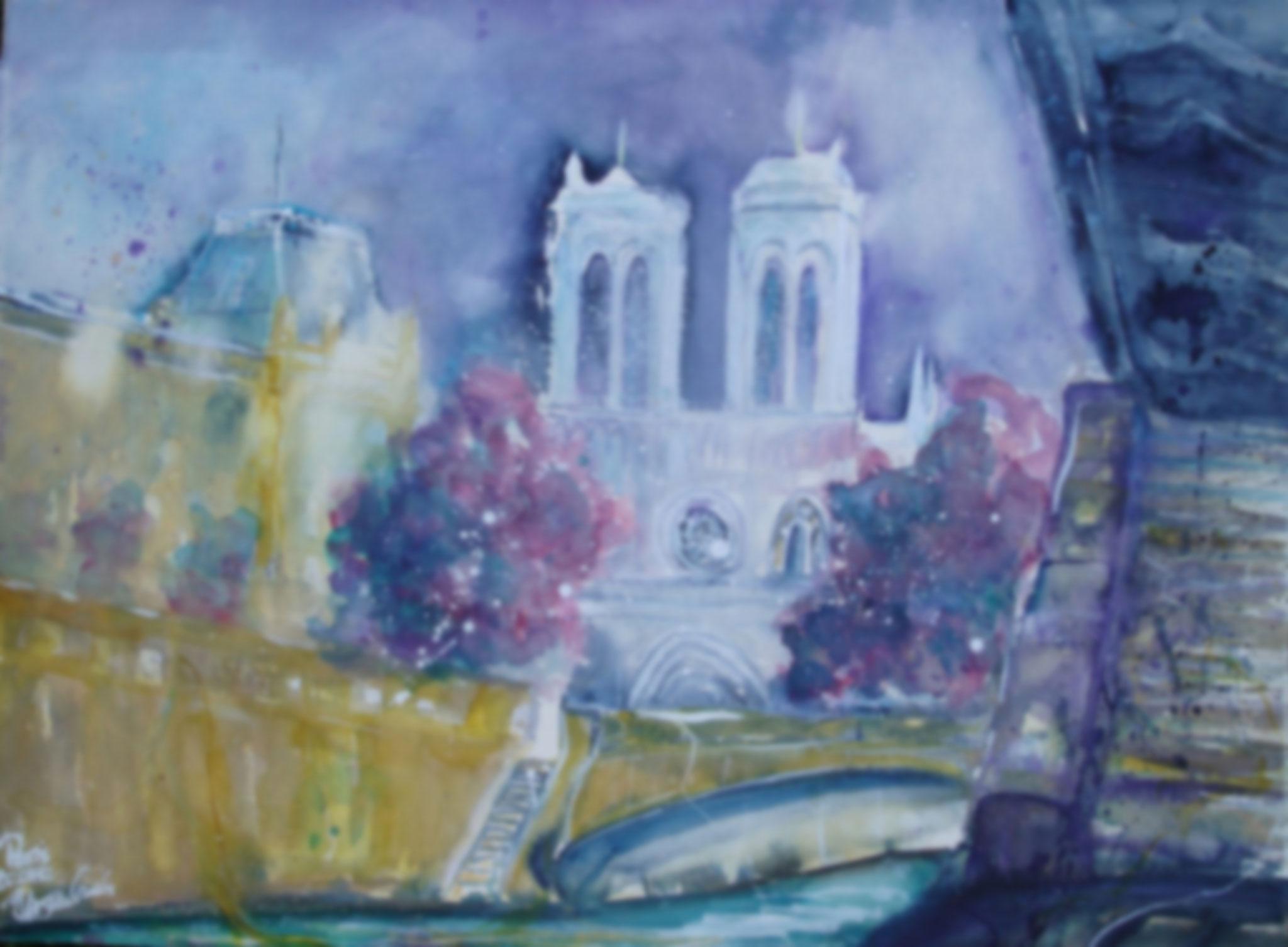 Notre Dame in Paris        ( Technik: Aquarell  auf    Fabriano 600 g   Satinata   76 X 56 cm)