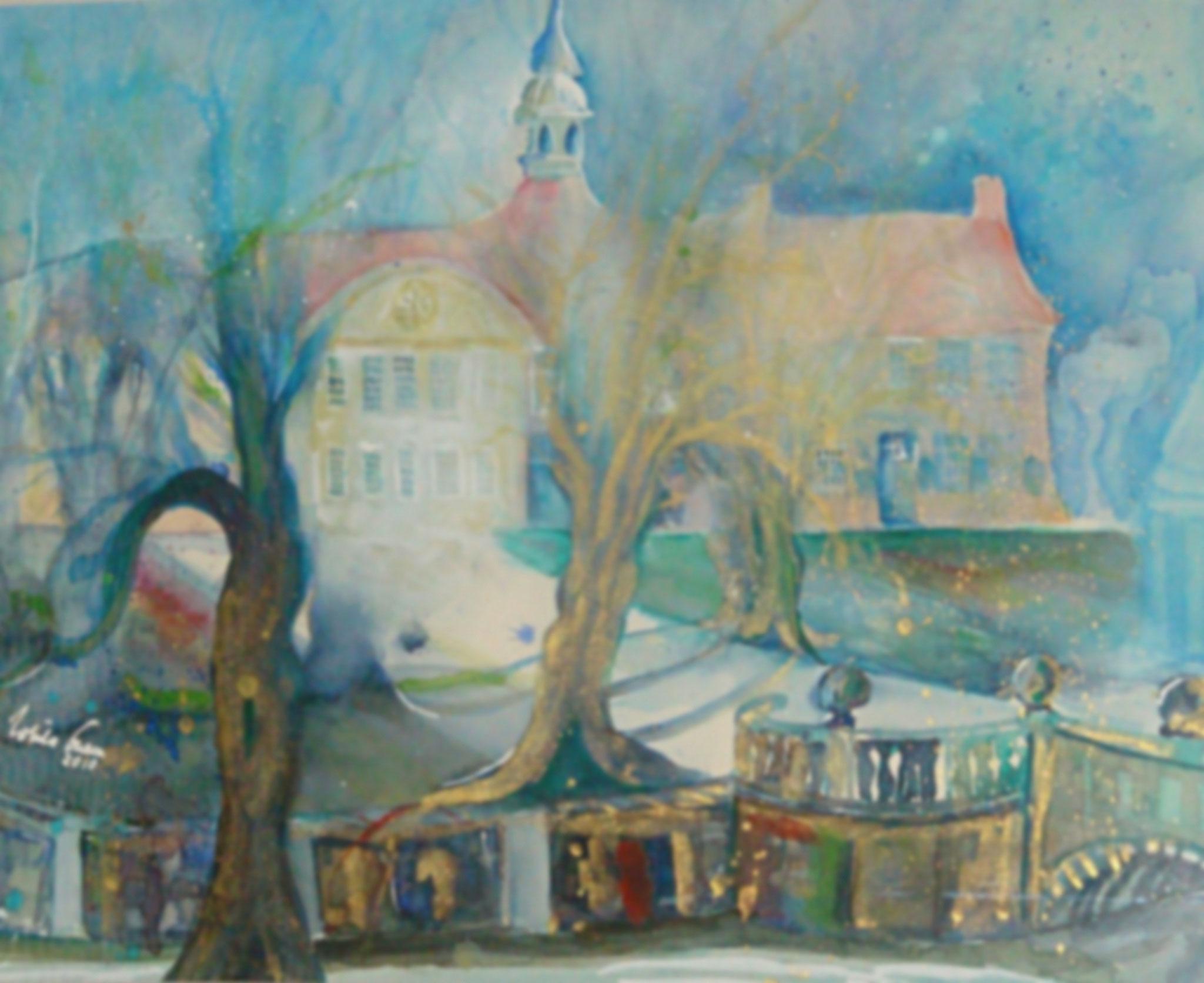 Kloster Frenwegen  in Nordhorn  (Technik: Aquarell    40 X 30 cm)