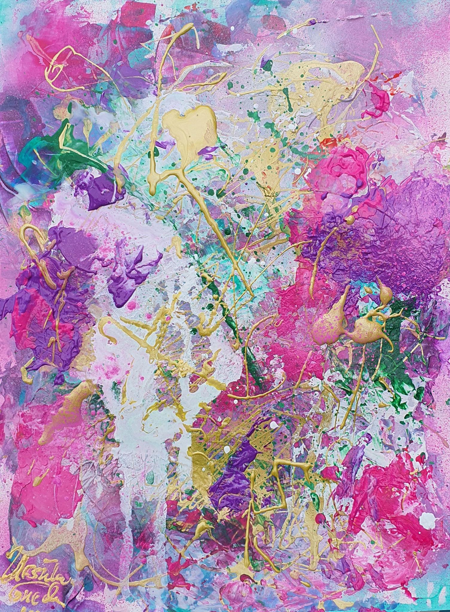 Summertime 2021 (Technik: 40 X 30 X 0,02 cm auf Special-Acryl-Papier, Mixed Media, abstract)