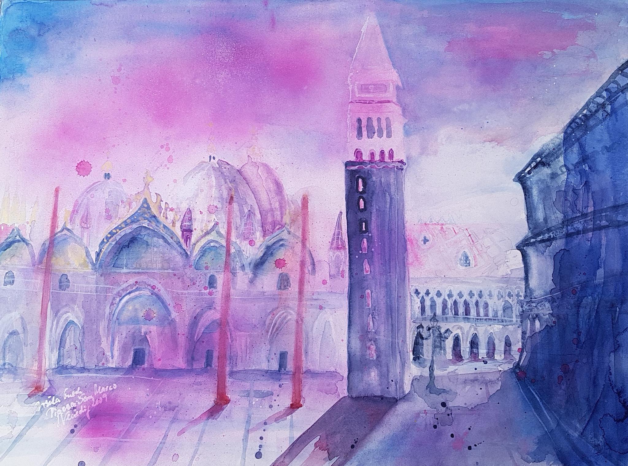 Piazza San Marco Venezia (Technik: Aquarell auf Fabriano 600 g Satinata 76 X 56 cm)