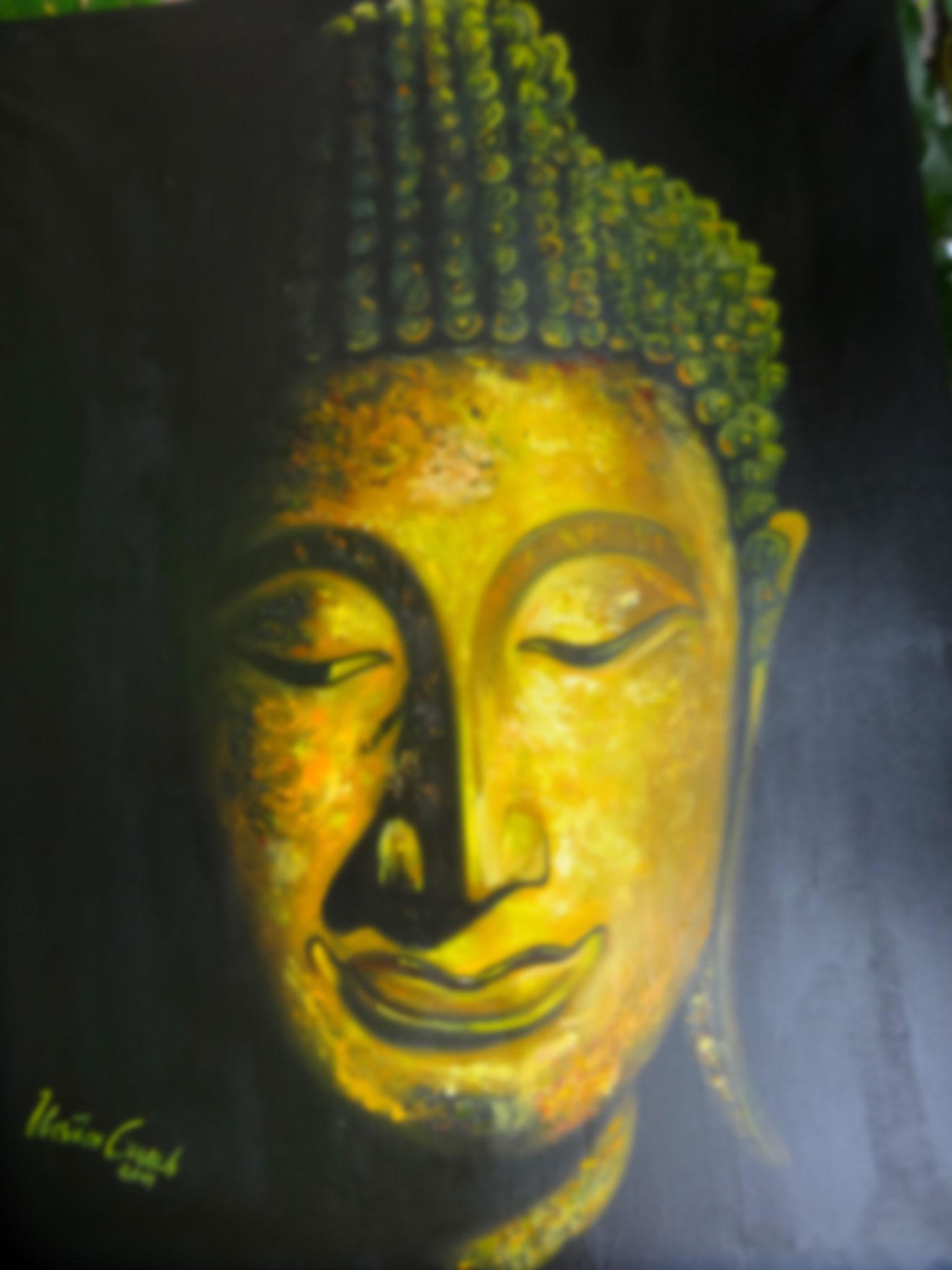 Buddha          (Technik: Öl    auf Leinwand   1,20 m X 90 cm )