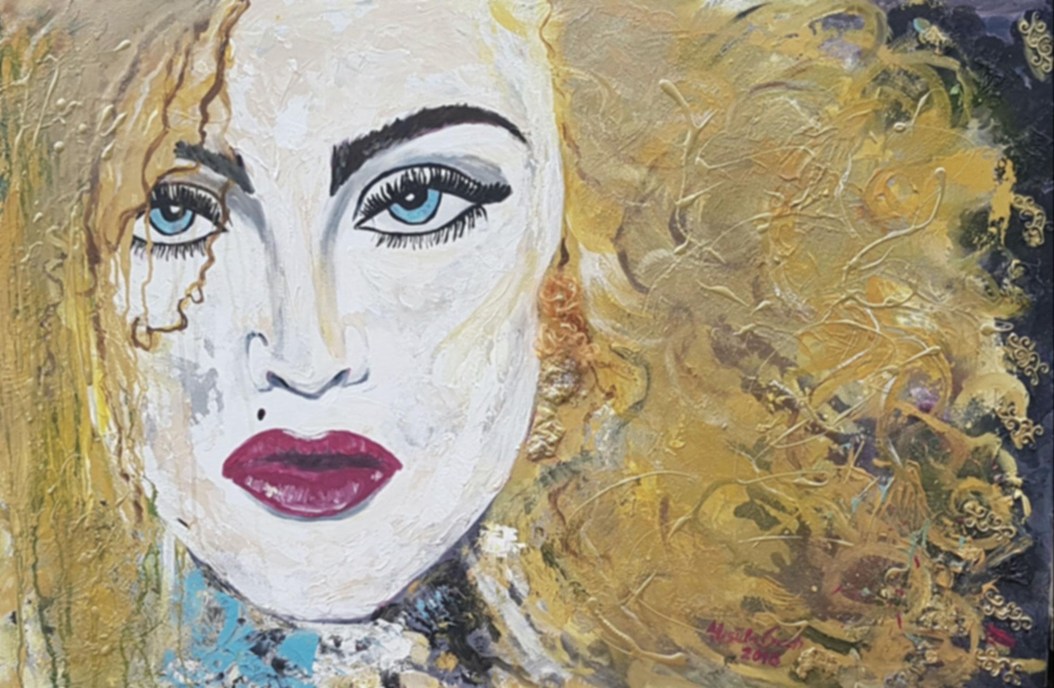 Madonna (pur)   (Technik: Acryl/Mixed Media    auf Leinwand   90 X 120 cm)