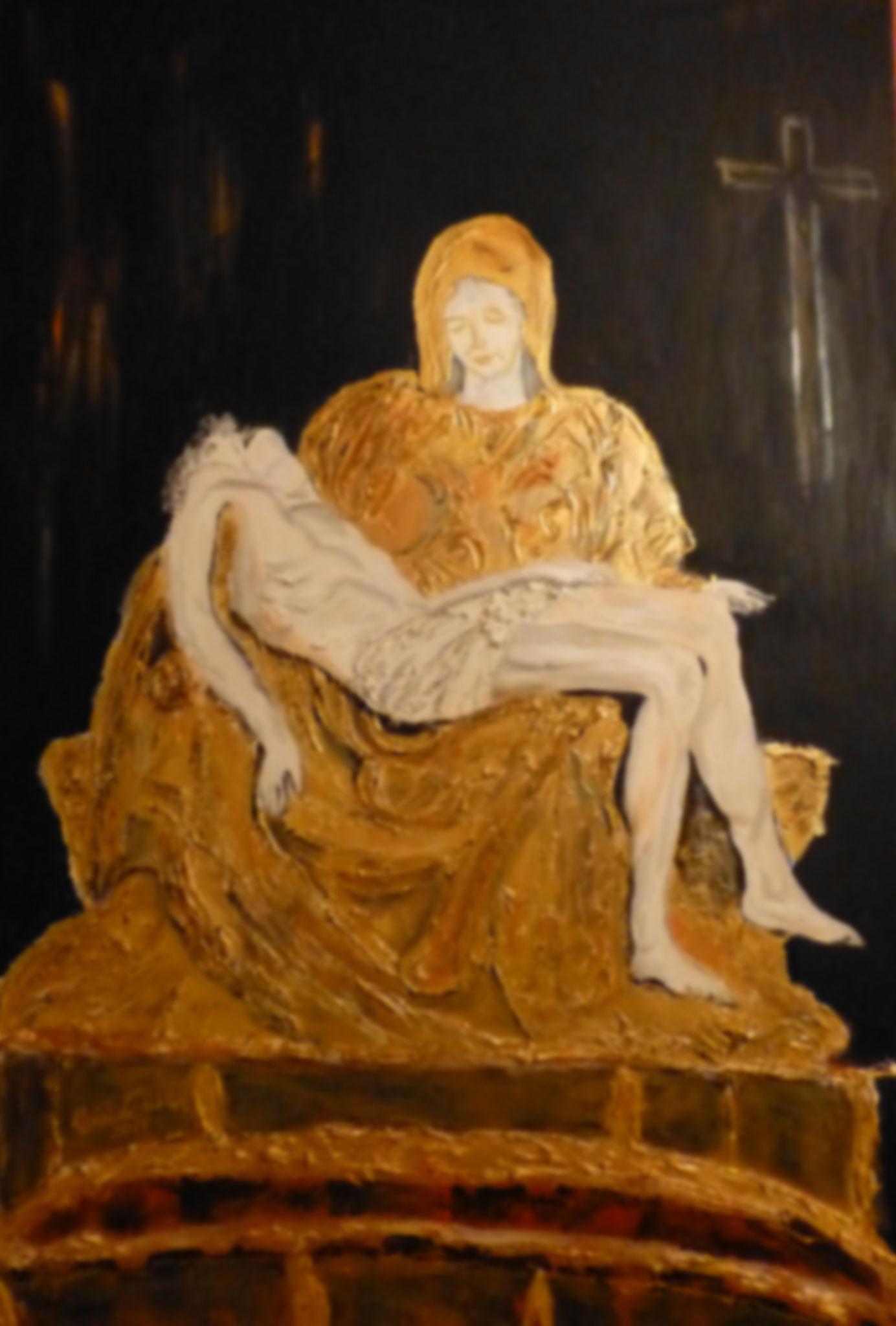 Pietà        (Technik: Acryl/Mixed Media   auf Leinwand  1,20 m X 90 cm)