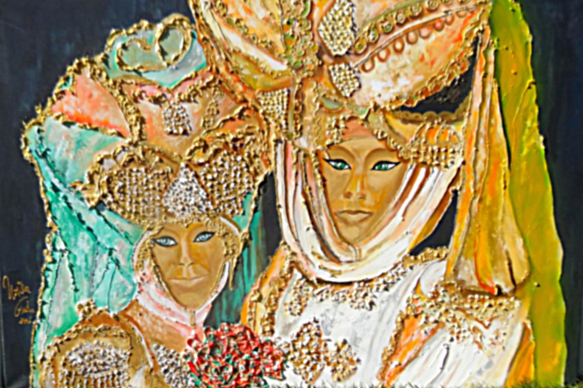 Karneval in Venedig     (Technik:  Acryl/Mixed Media    Leinwand: 1,20 m X 90 cm)