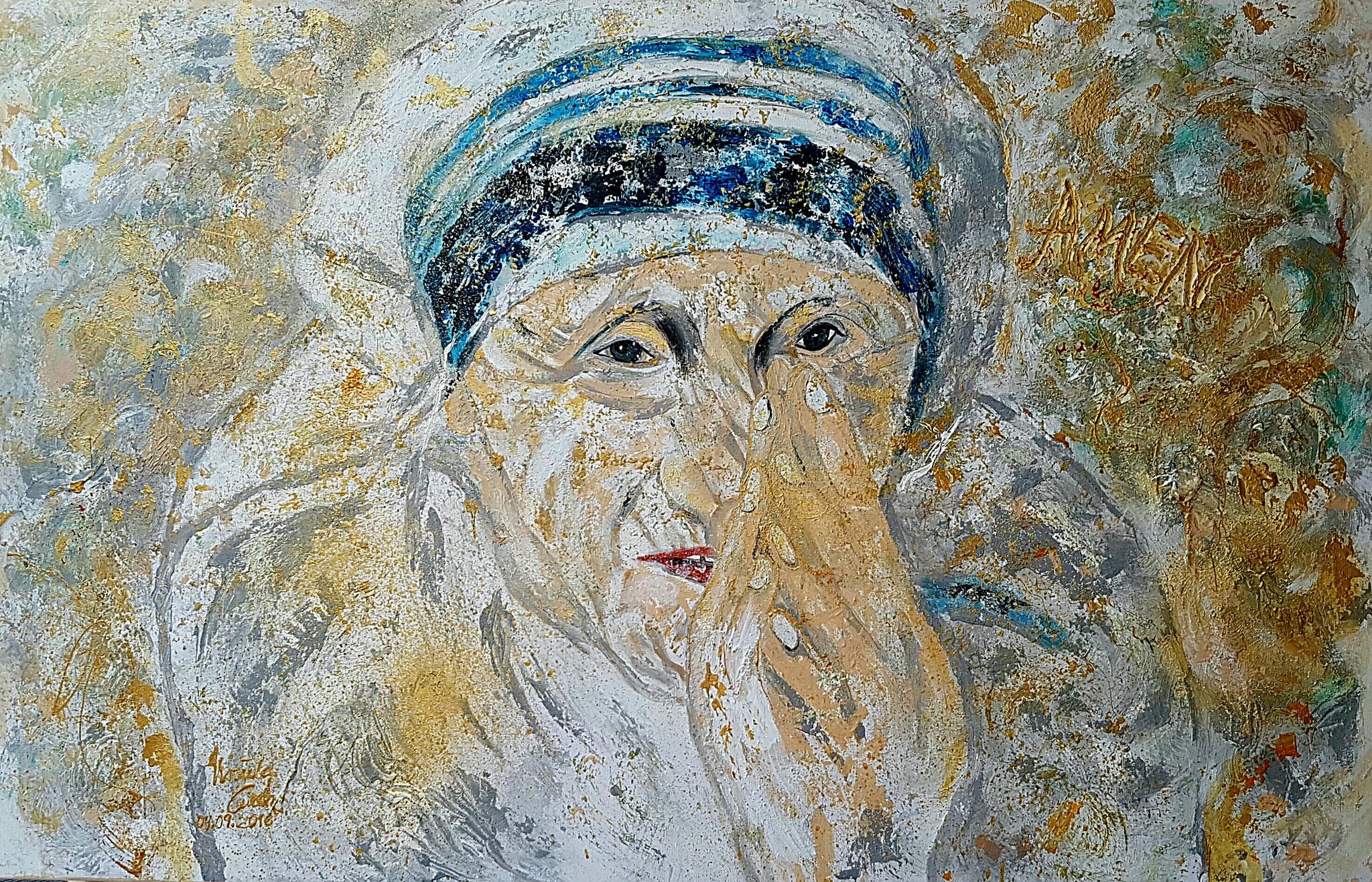 hl. Mutter Teresa (Technik: Acryl/Mixed Media   Leinwand: 1,20 m x 90 cm)