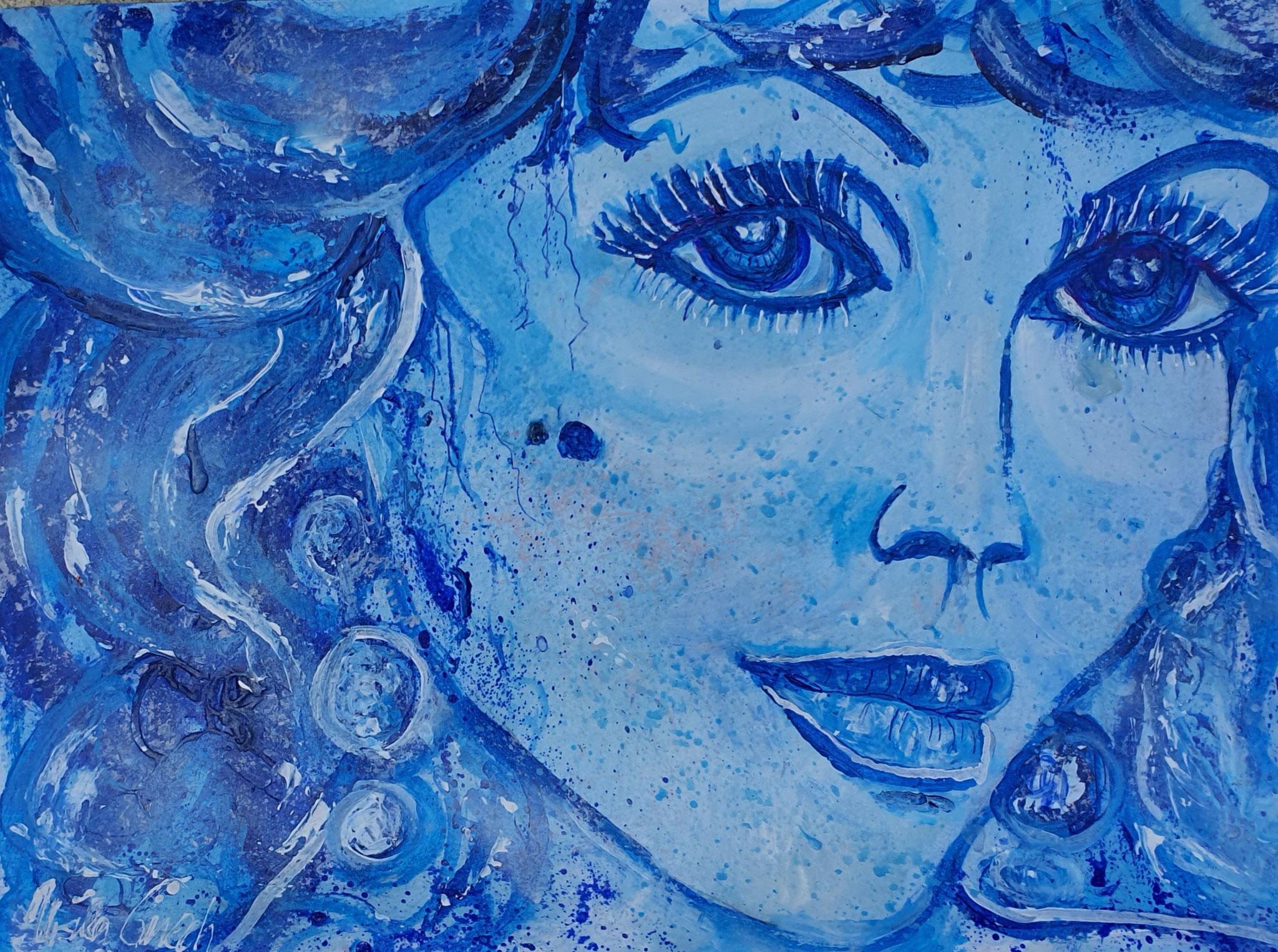 Always beauty Joan Collins (Technik: Acryl/Mixed Media on paper 48 X 36 X 0,2 cm)